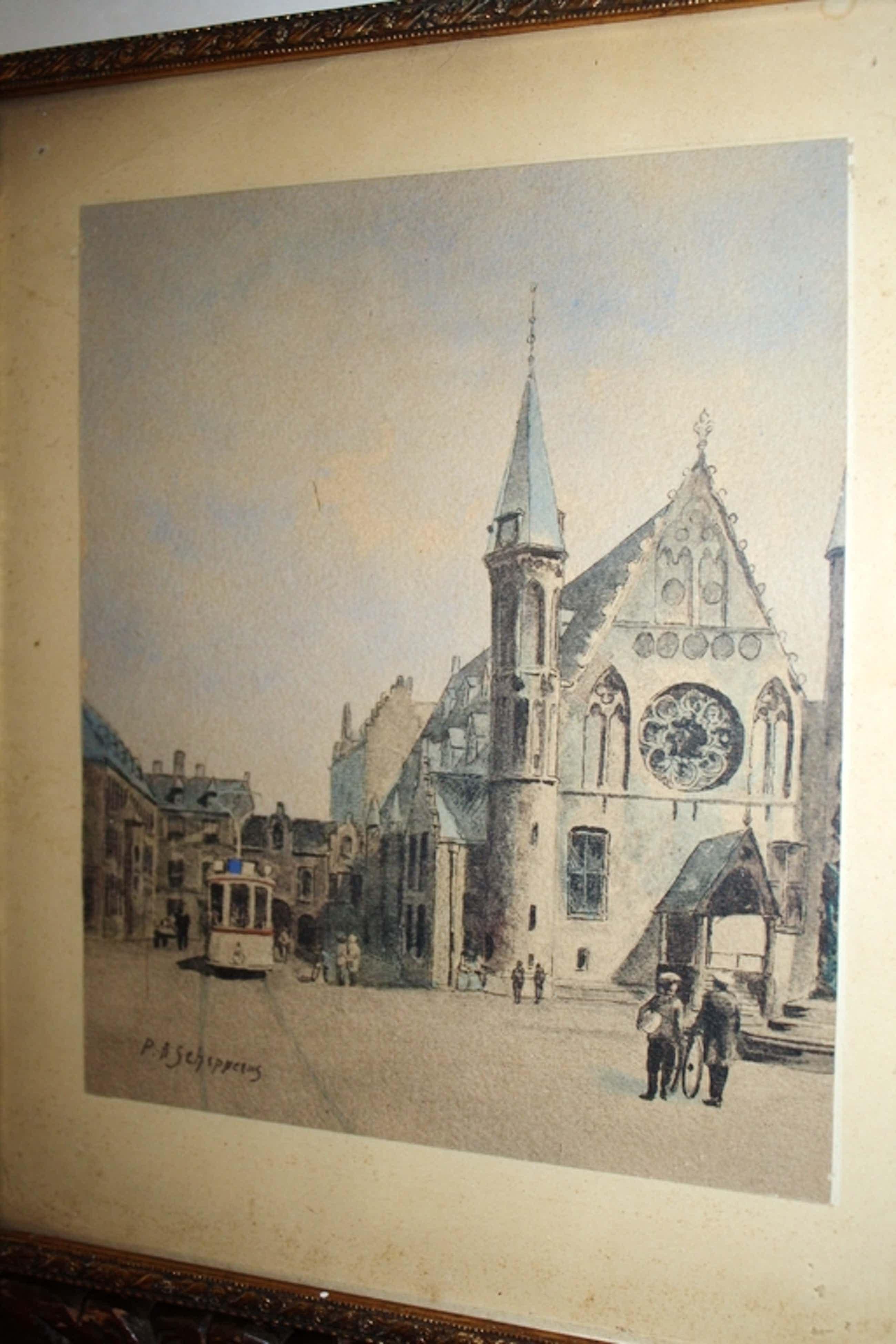 Pieter Schipperus - tram te Den Haag - inkt en aquarel kopen? Bied vanaf 110!