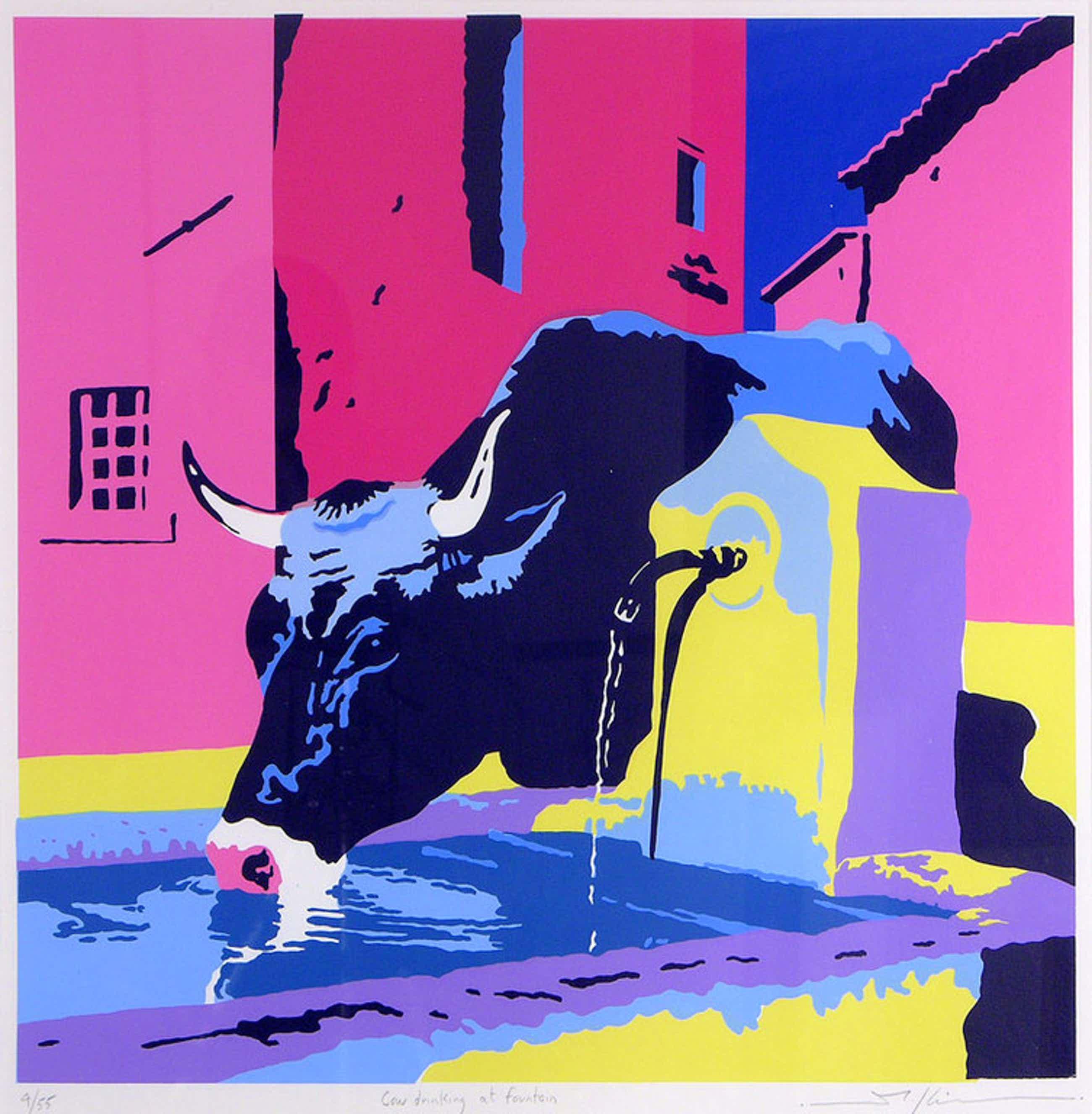 Marco Kooiman, zeefdruk: Cow drinking at fountain kopen? Bied vanaf 50!