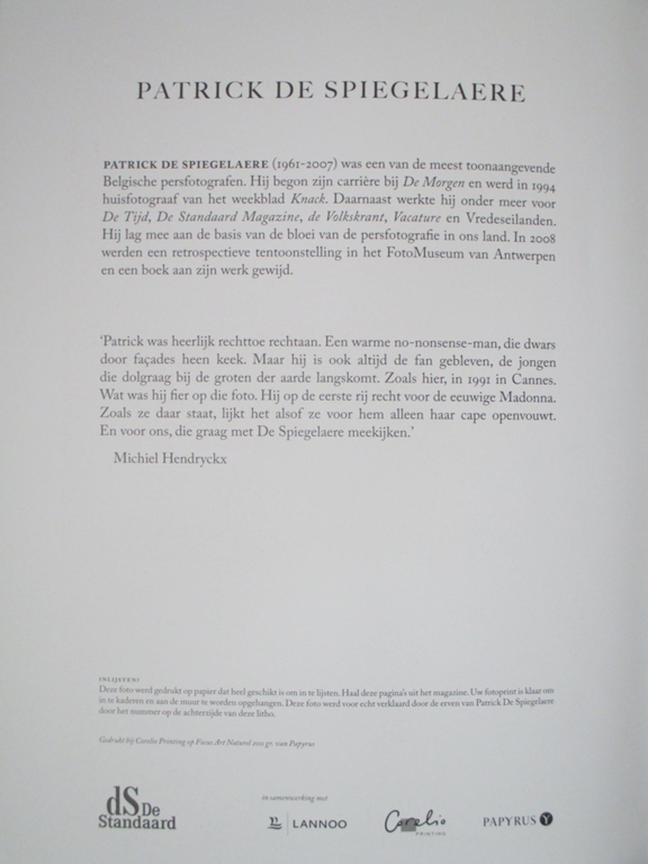 Patrick de Spiegelaere, litho, 37x 27 cm kopen? Bied vanaf 40!