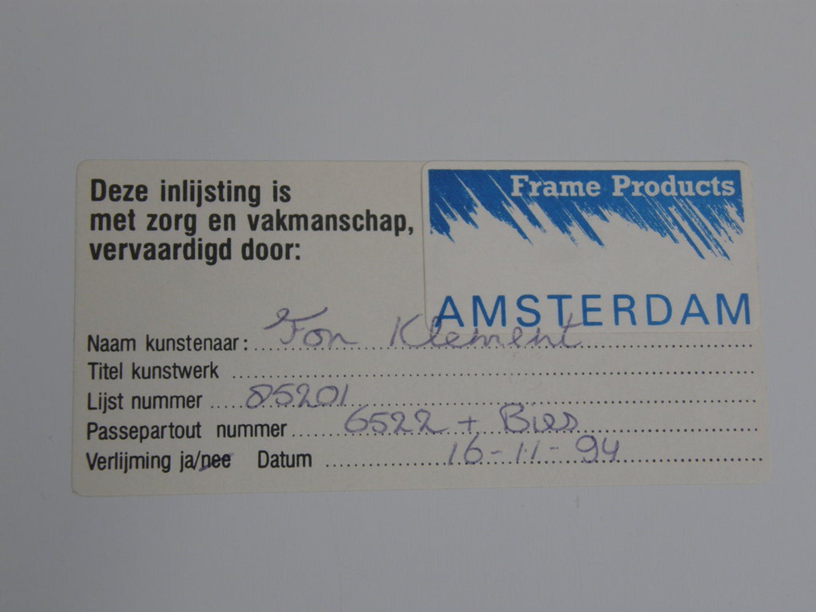 Fon Klement: Boardsnede, potlood gesigneerd kopen? Bied vanaf 200!