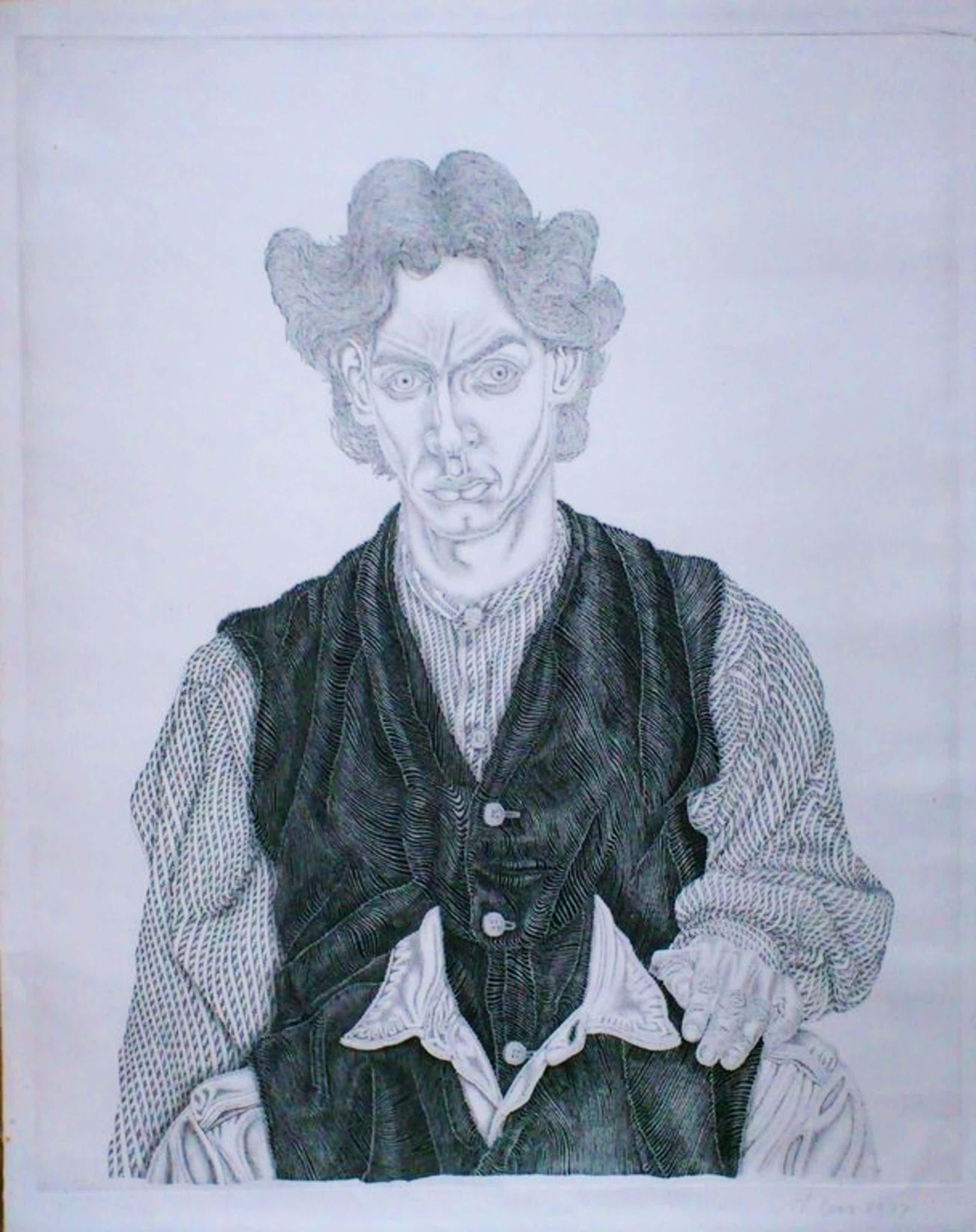 Kunstenaar Philip Boas, ets droge naald, titel: geen. kopen? Bied vanaf 35!