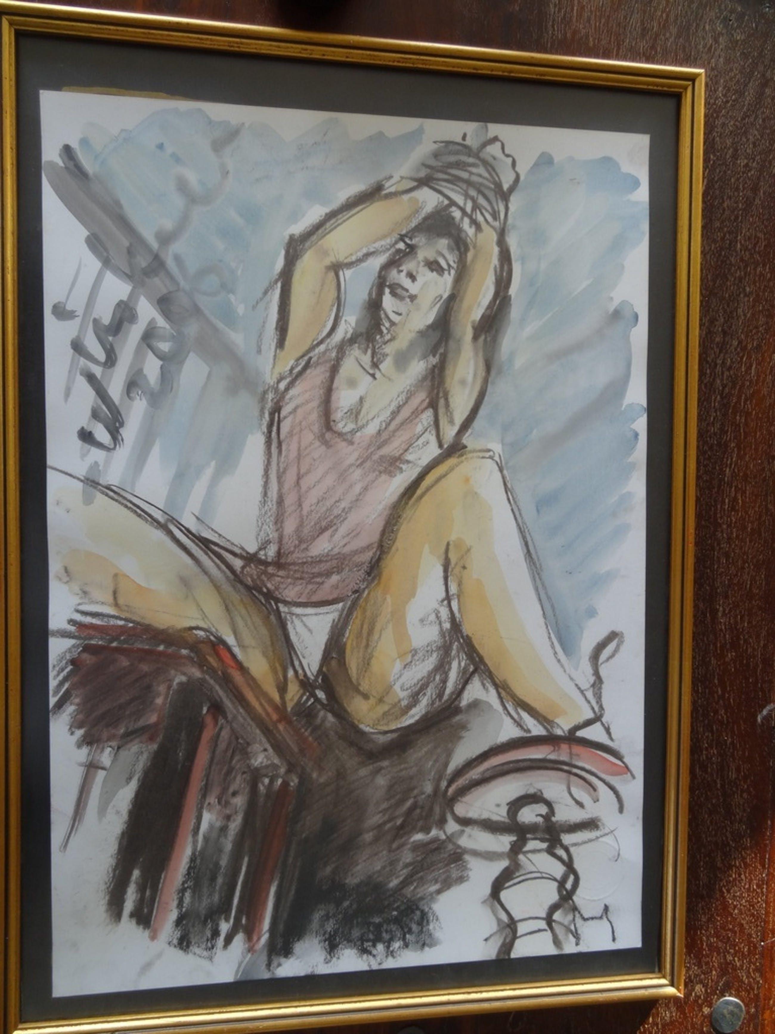 Arien Winkel, 2006 gebonden vrouw op stoel,Gemengde techniek 50 x 35 kopen? Bied vanaf 40!