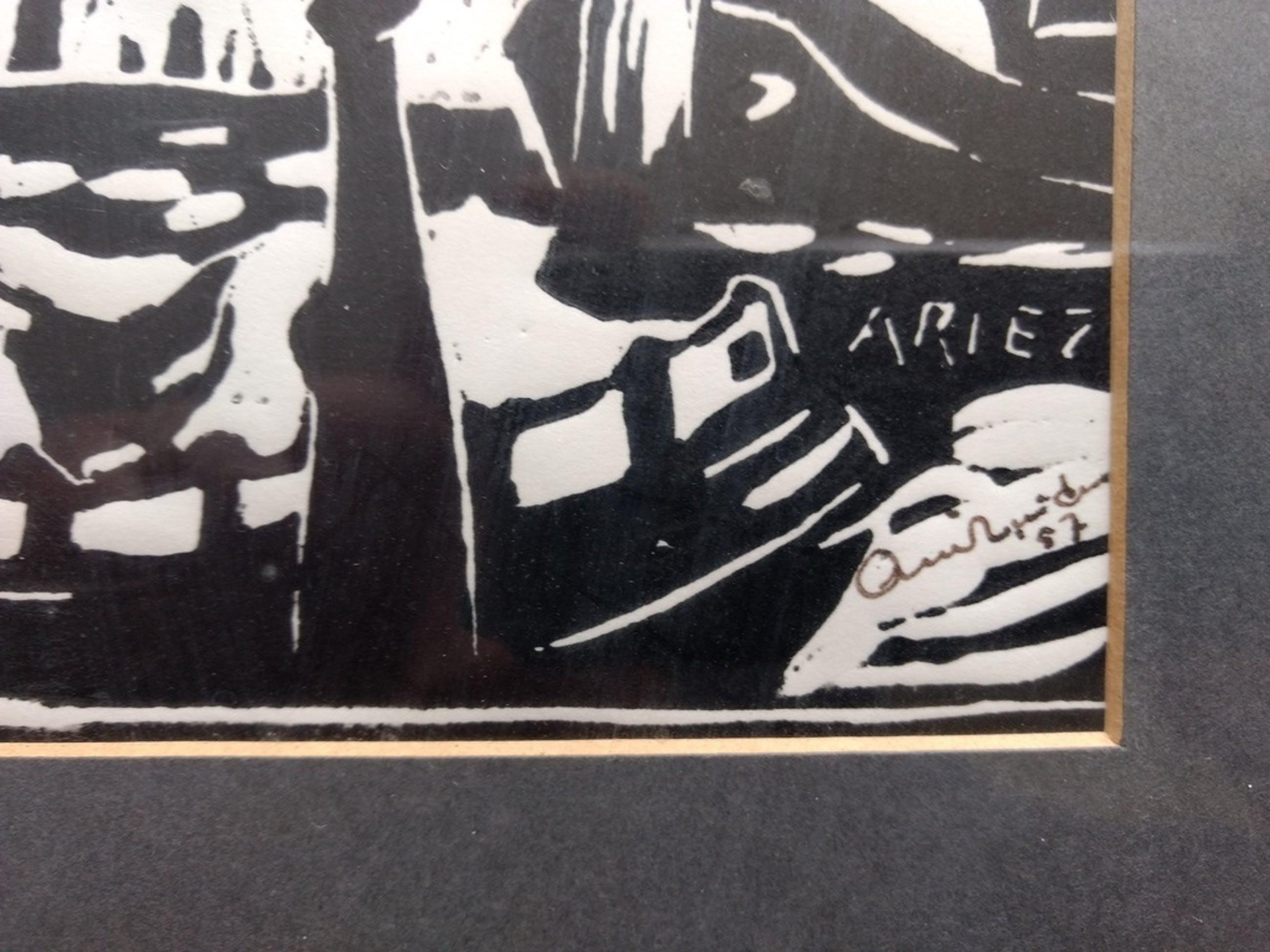 Arie Zuidersma: linosnede op papier kopen? Bied vanaf 150!