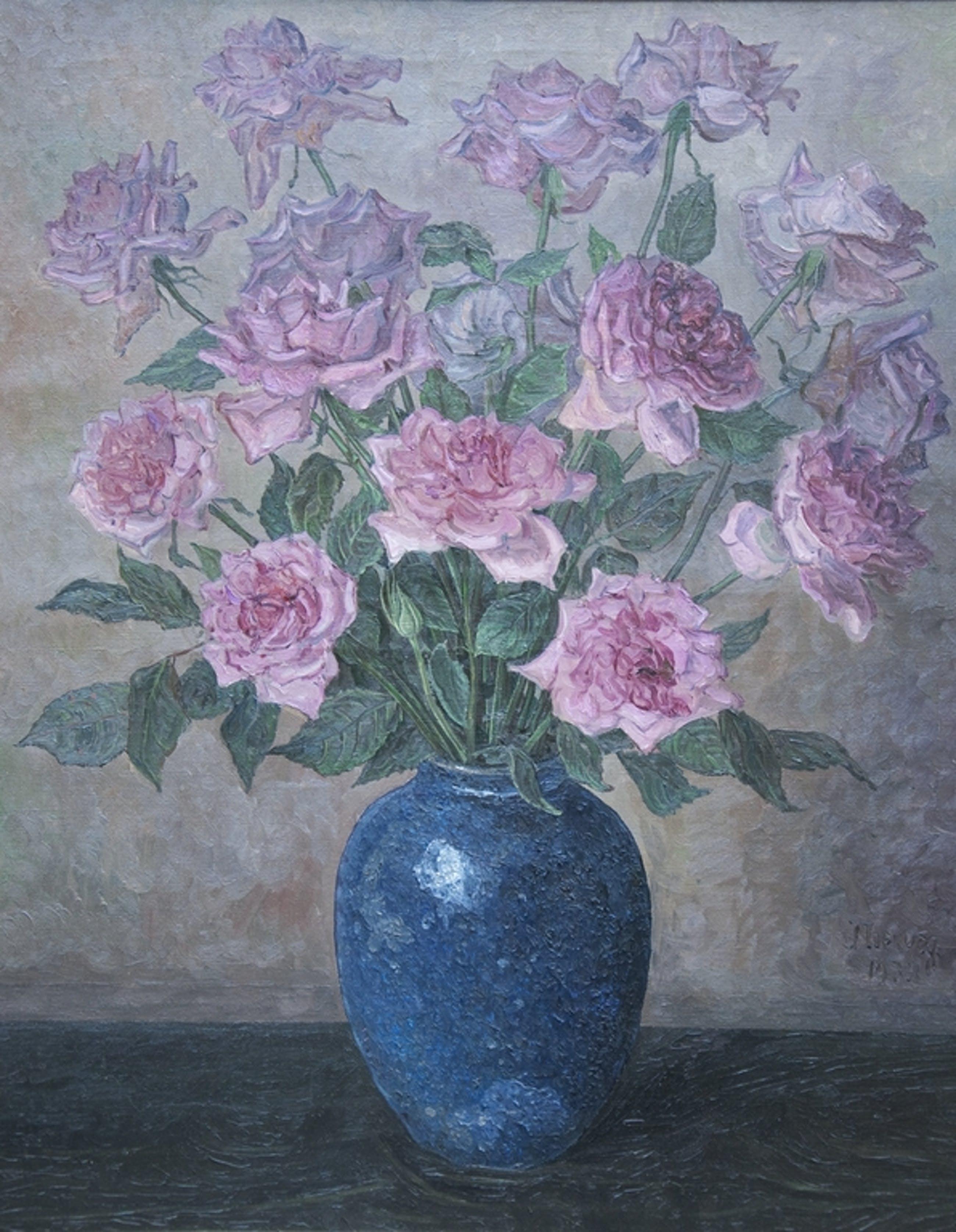 Jaap Nieweg | 1877-1955, Vaas met rozen - olieverf op doek - gesigneerd - 1932  kopen? Bied vanaf 1200!