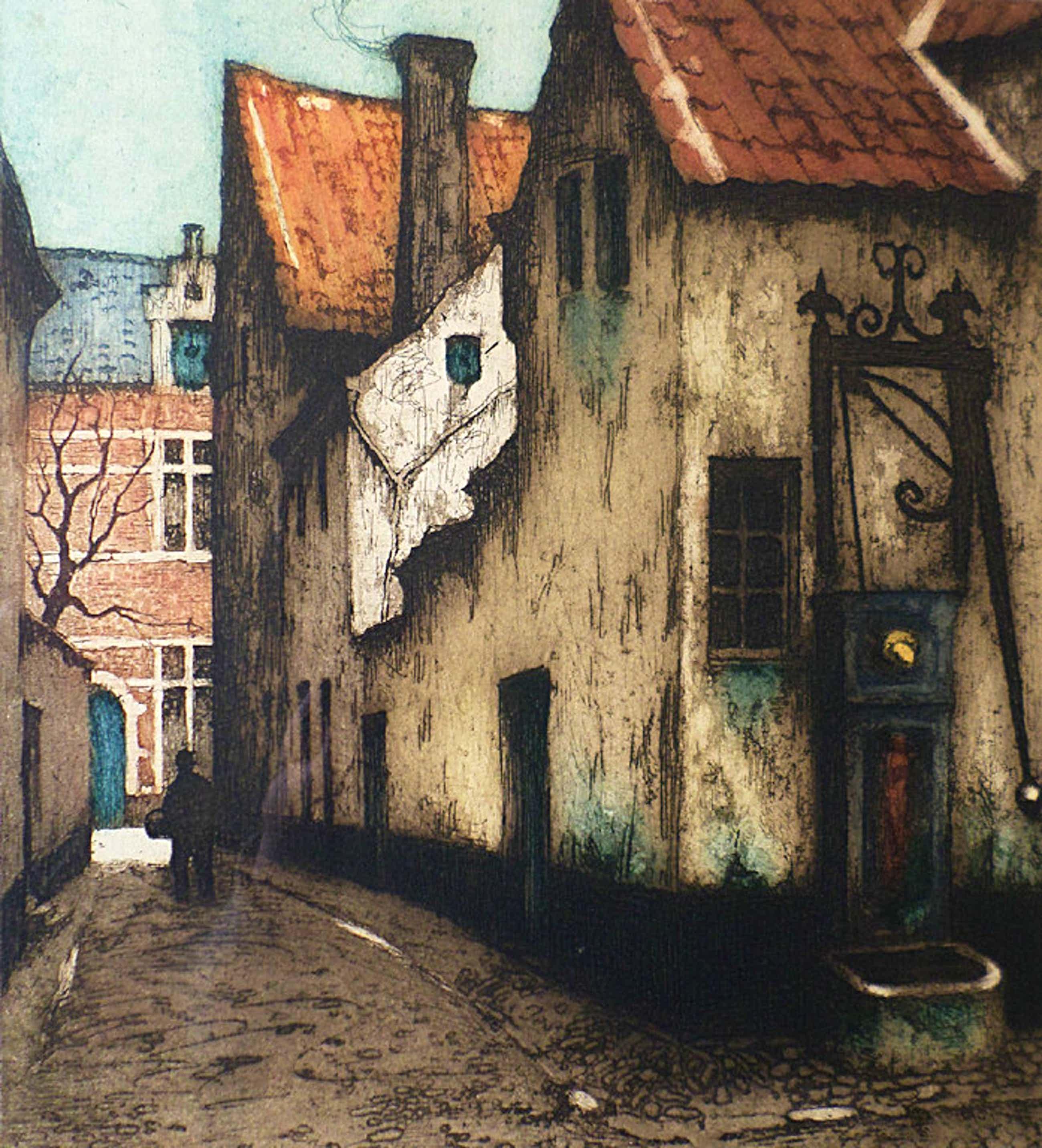 Julien Celos - Straatje in Vlaanderen, ets (mooi ingelijst) kopen? Bied vanaf 40!