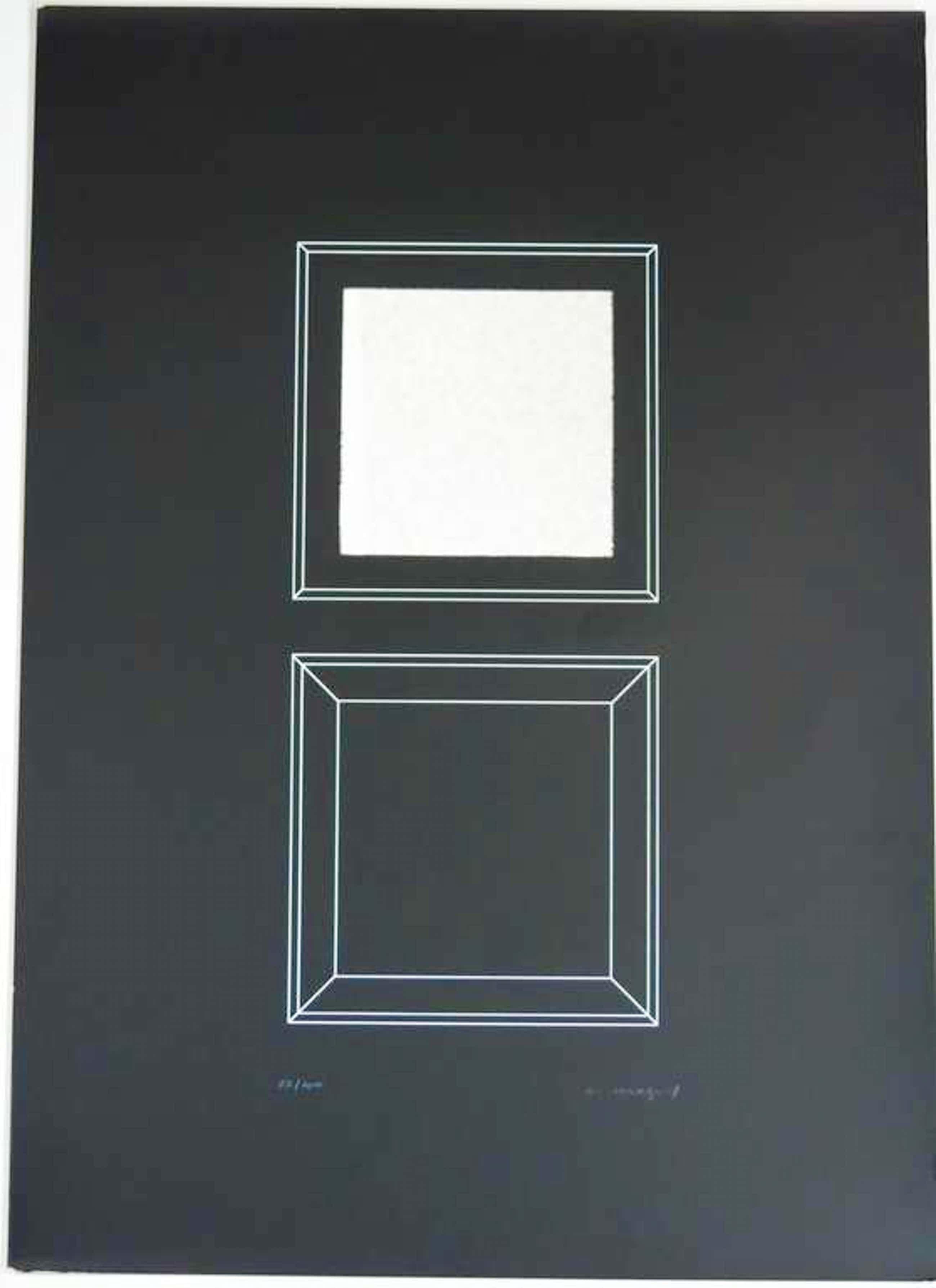 Christian Megert: Zeefdruk, Compositie met vierkanten en echte spiegel kopen? Bied vanaf 100!