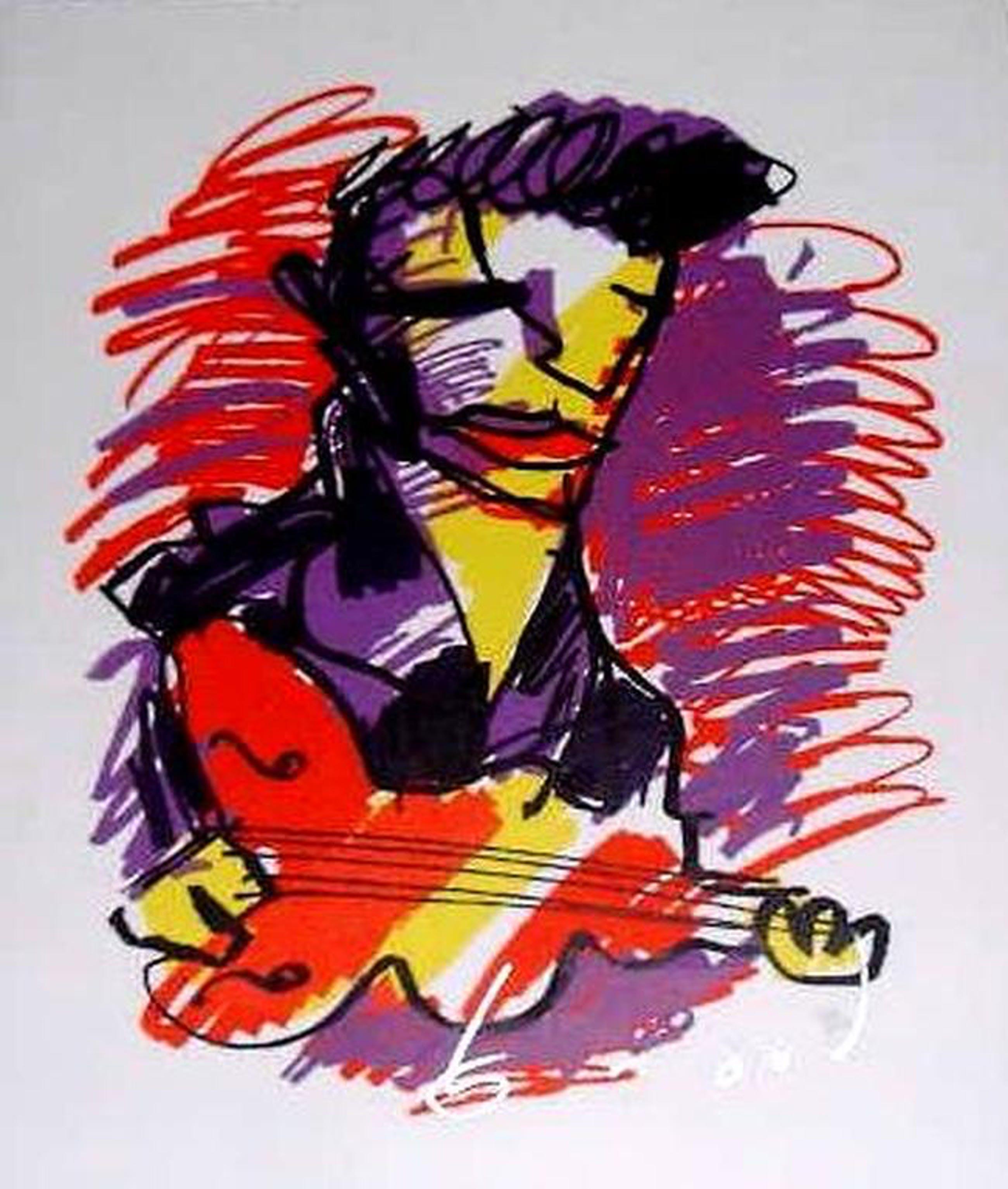 HERMAN BROOD, grote gelimiteerde en handgesign. zeefdruk 'Gitarist / Elvis' kopen? Bied vanaf 1!