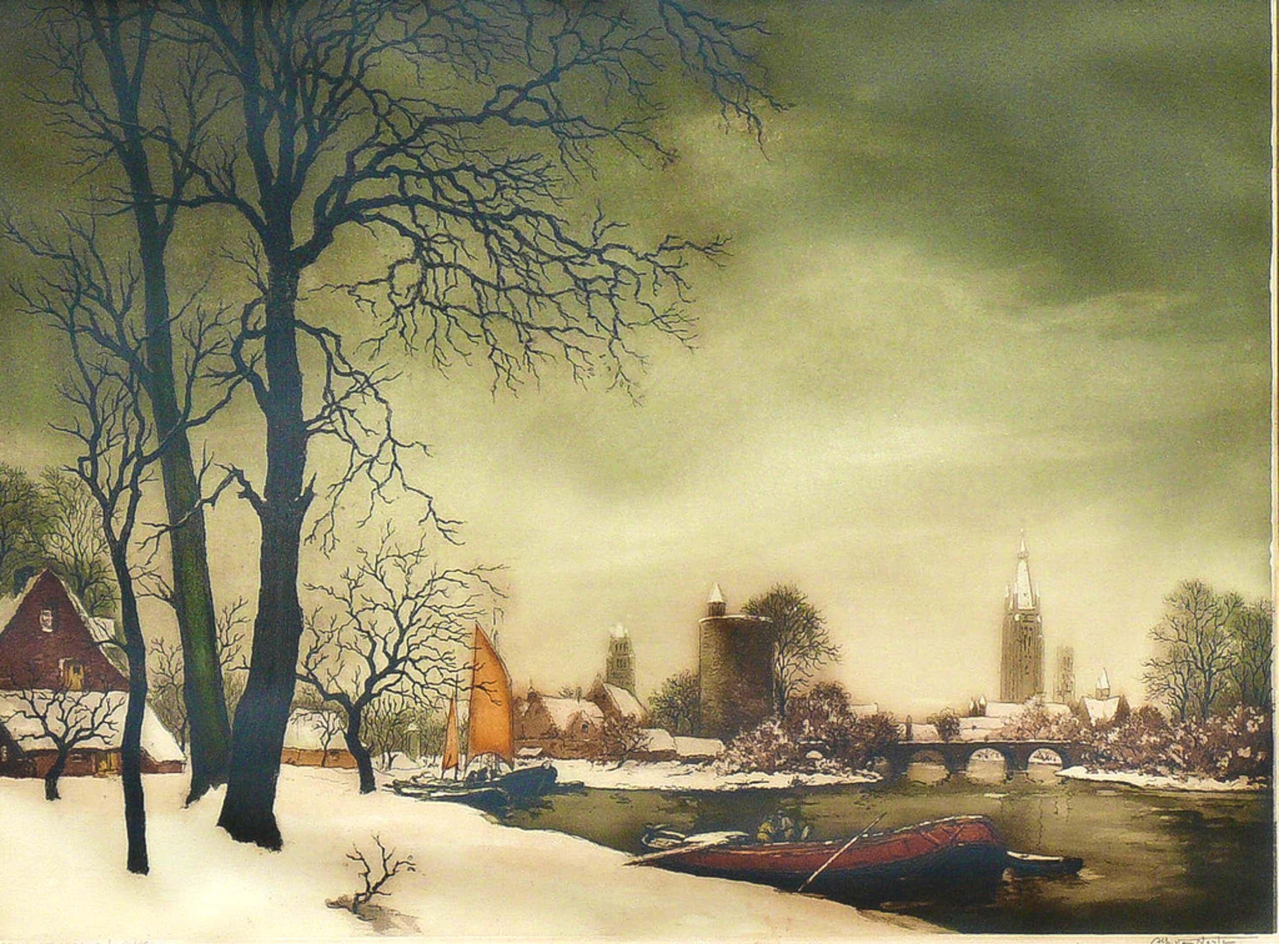 Alfred van Neste - Alfred van Neste: kleurenets, Brugge in de sneeuw kopen? Bied vanaf 70!