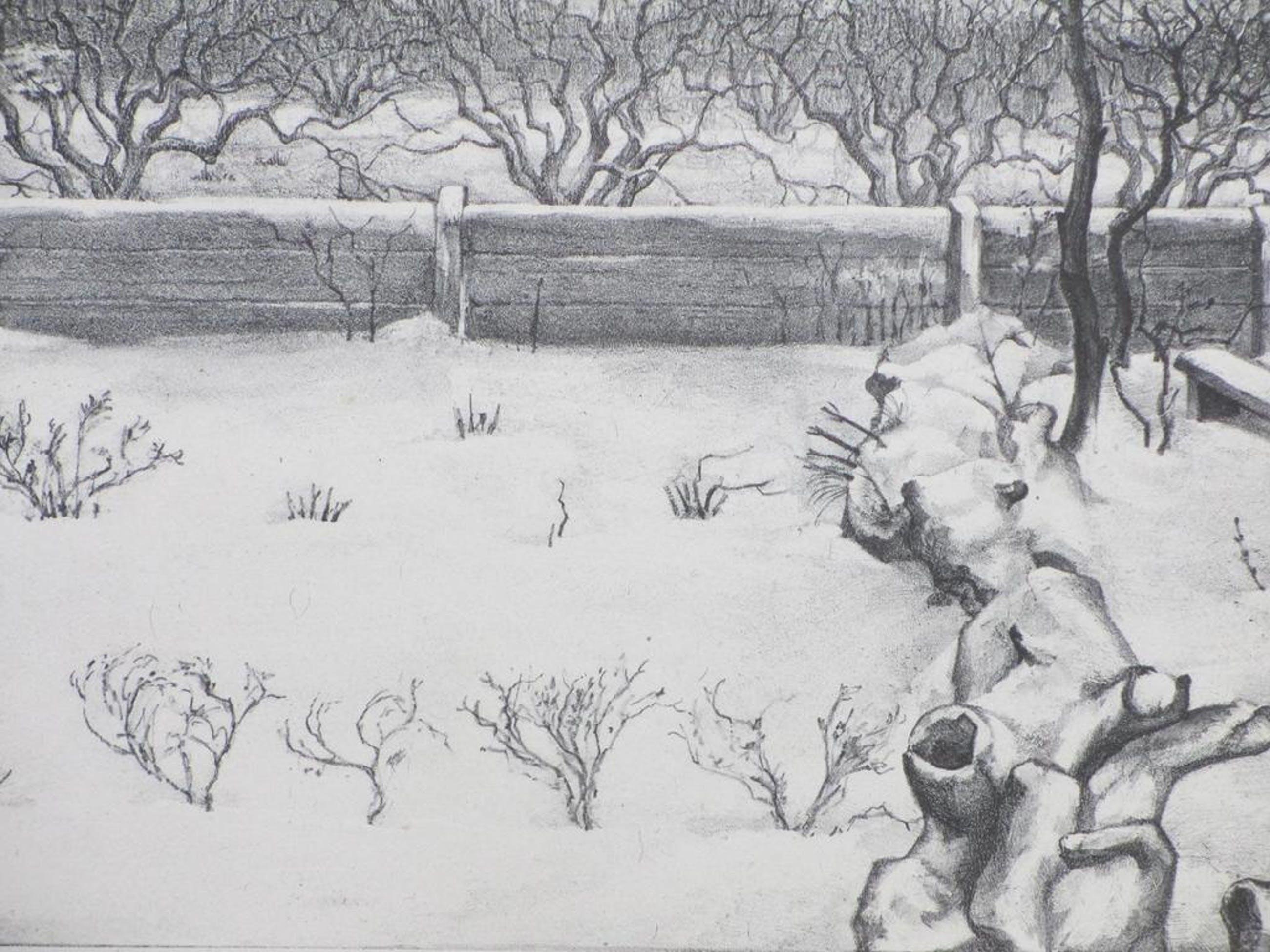 Aart van Dobbenburgh, Tuintje in sneeuw, Litho 1930 kopen? Bied vanaf 60!