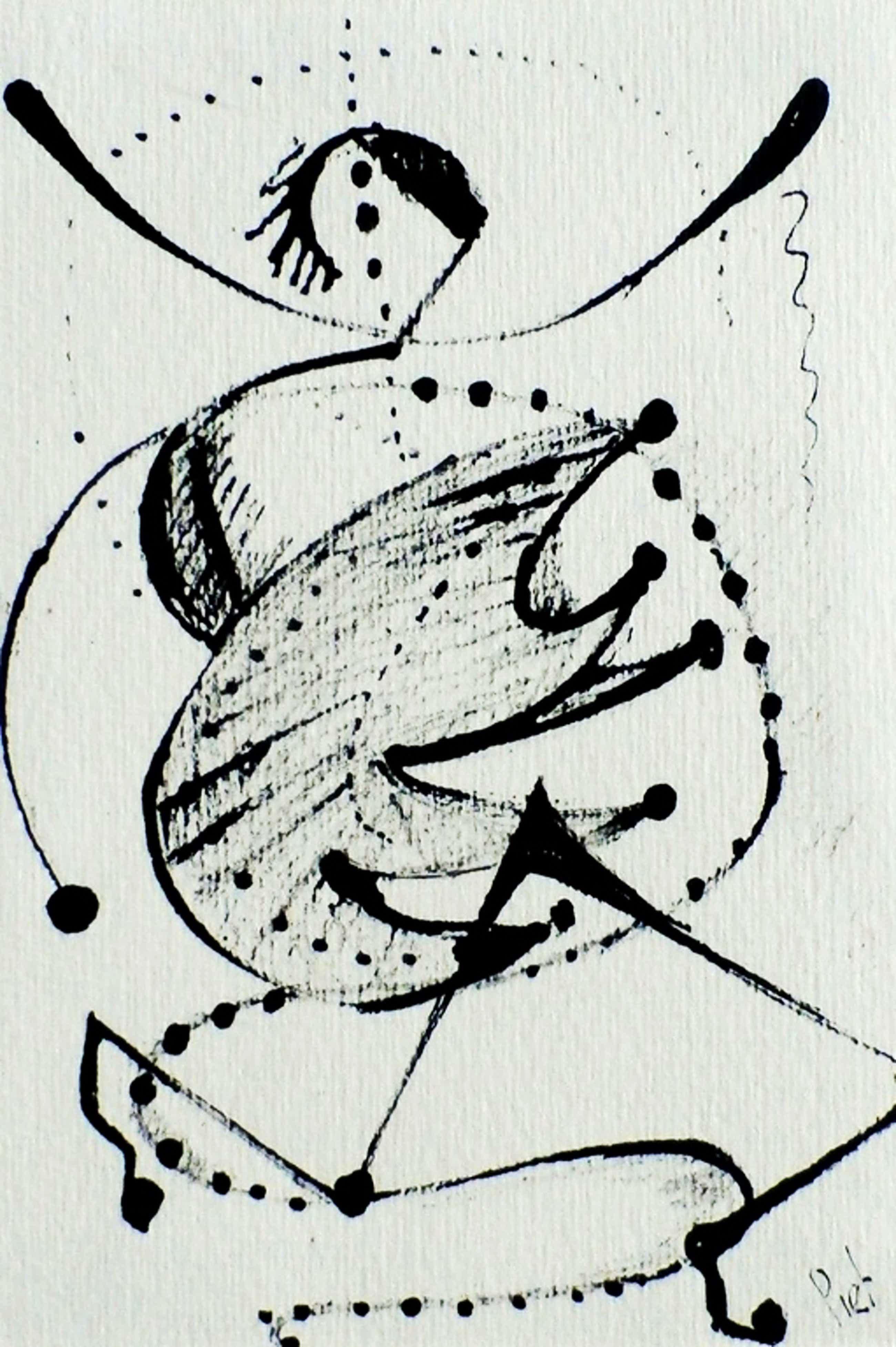 Piet van Stuivenberg -inkttekening: abstracte compositie - jaren 50 kopen? Bied vanaf 50!