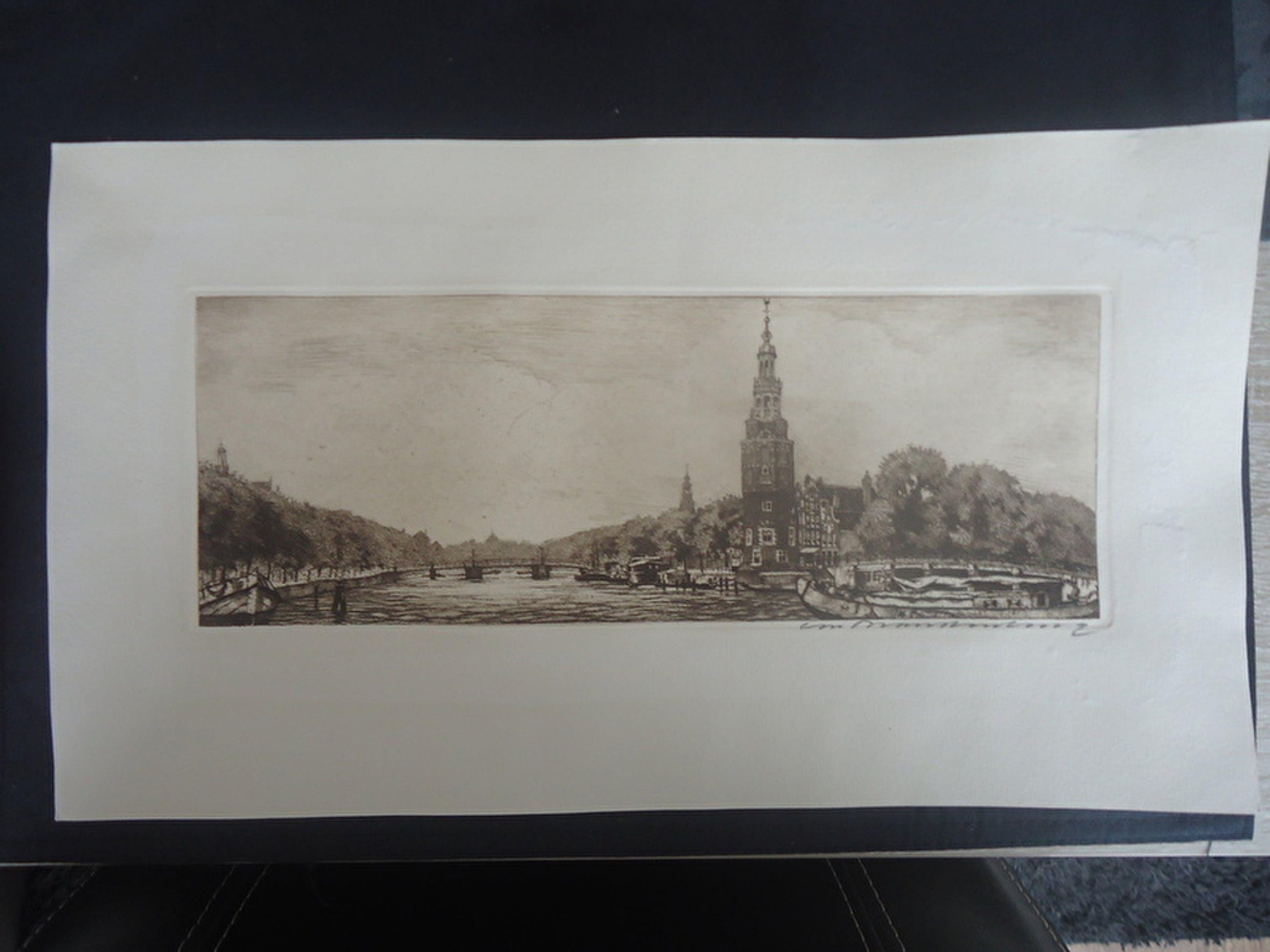 Cornelis Brandenburg ( 1884 - 1954 ) - ets - Oude Schans.  kopen? Bied vanaf 1!