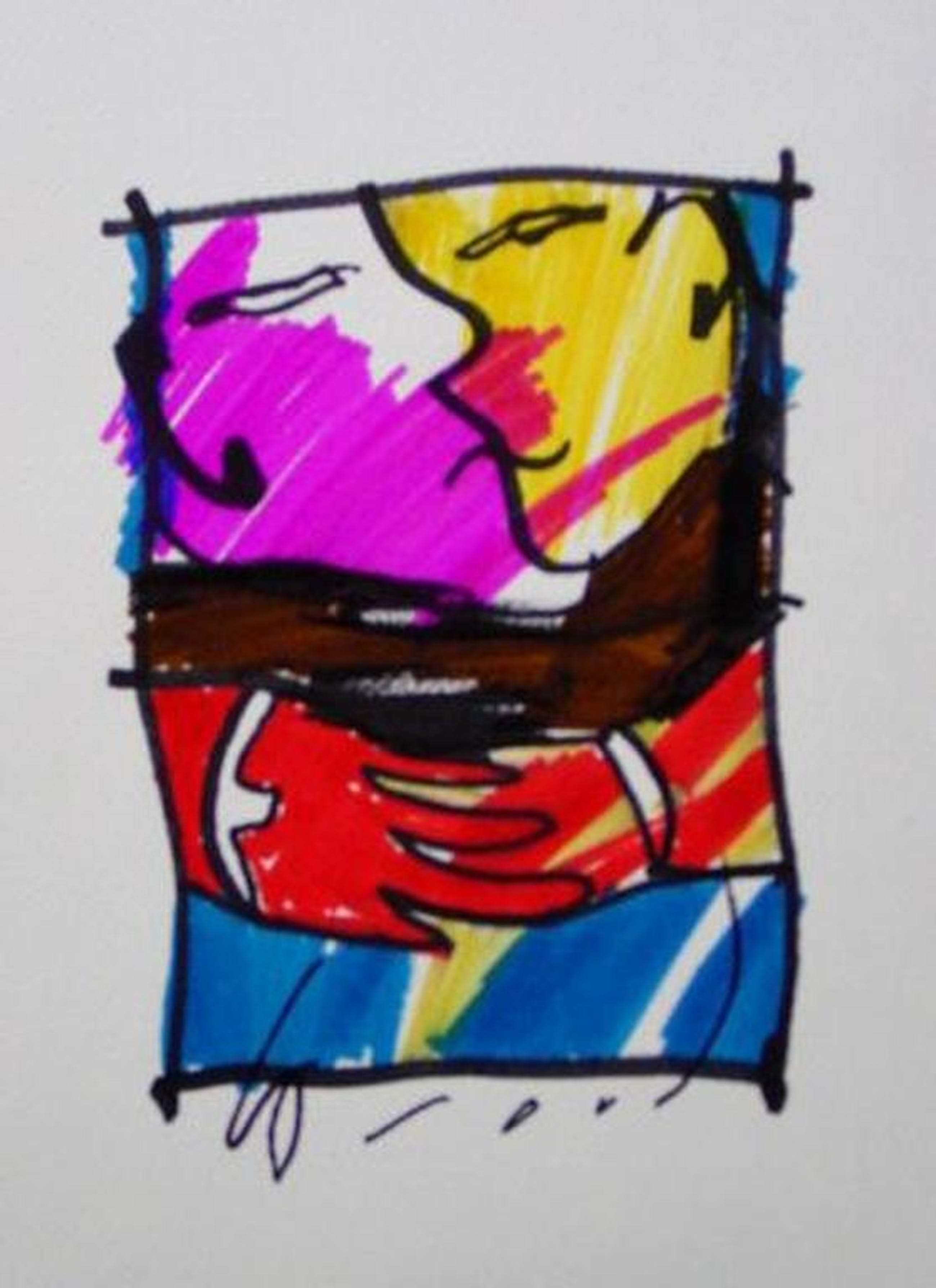 HERMAN BROOD, originele tekening op papier 'Love U' kopen? Bied vanaf 1!