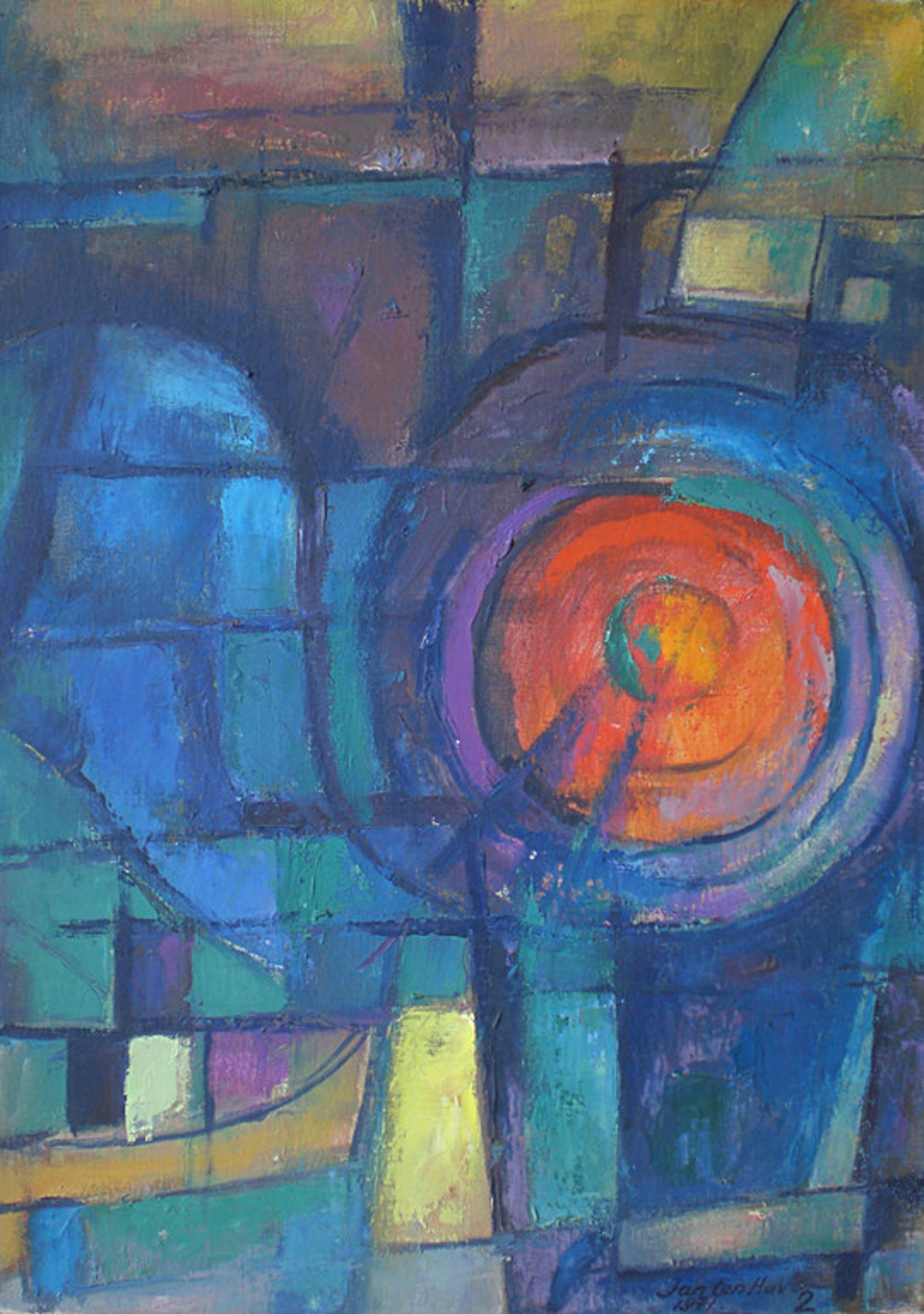 Jan ten Have (Groninger ploeg) - Abstract #2, olieverf op doek (ingelijst) kopen? Bied vanaf 150!