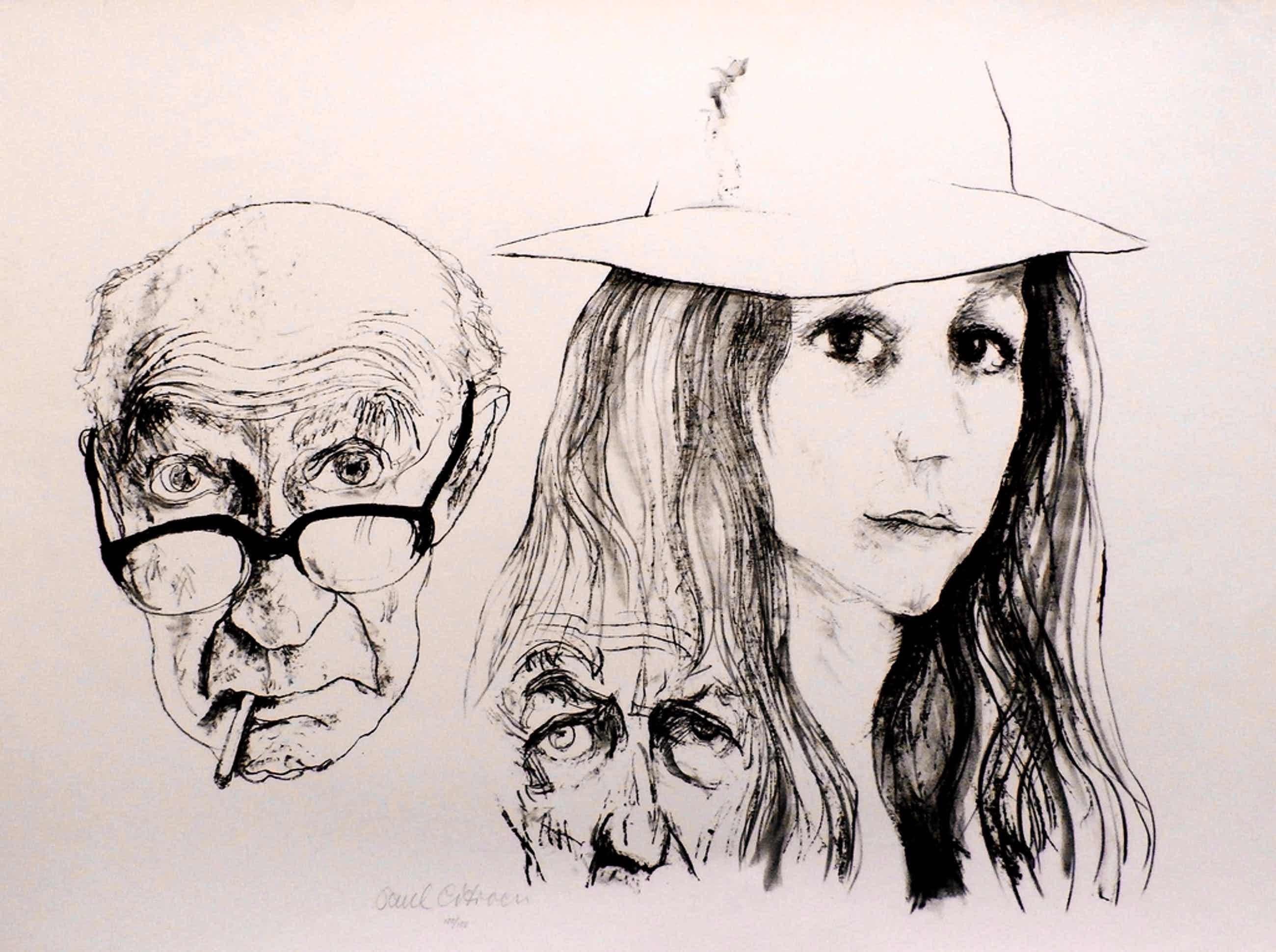 Paul Citroen - litho: zelfportret met dochter - 1971  kopen? Bied vanaf 75!