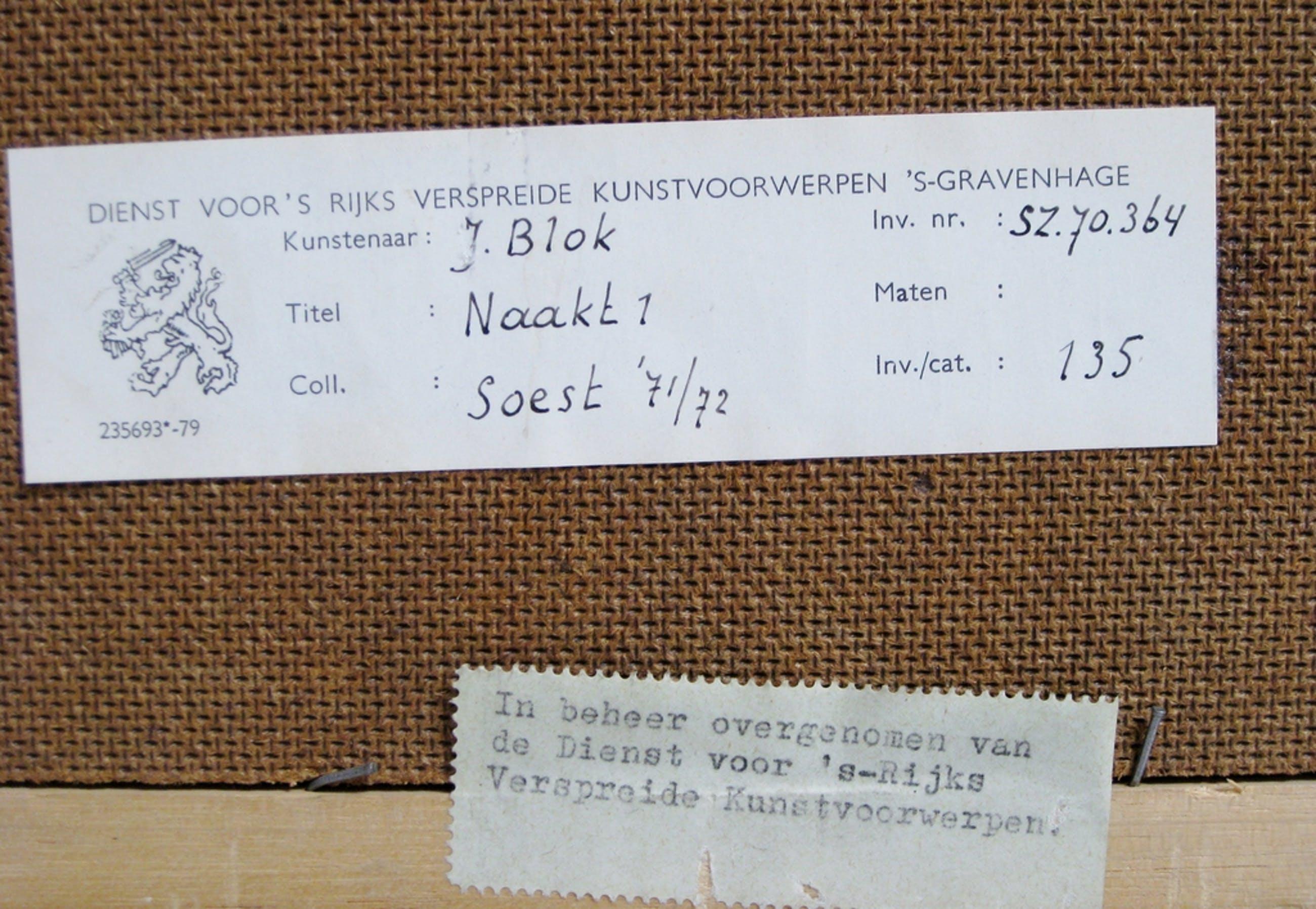 Johan Blok (1934) - Roodkrijttekening naakte jongeman 1971 kopen? Bied vanaf 65!