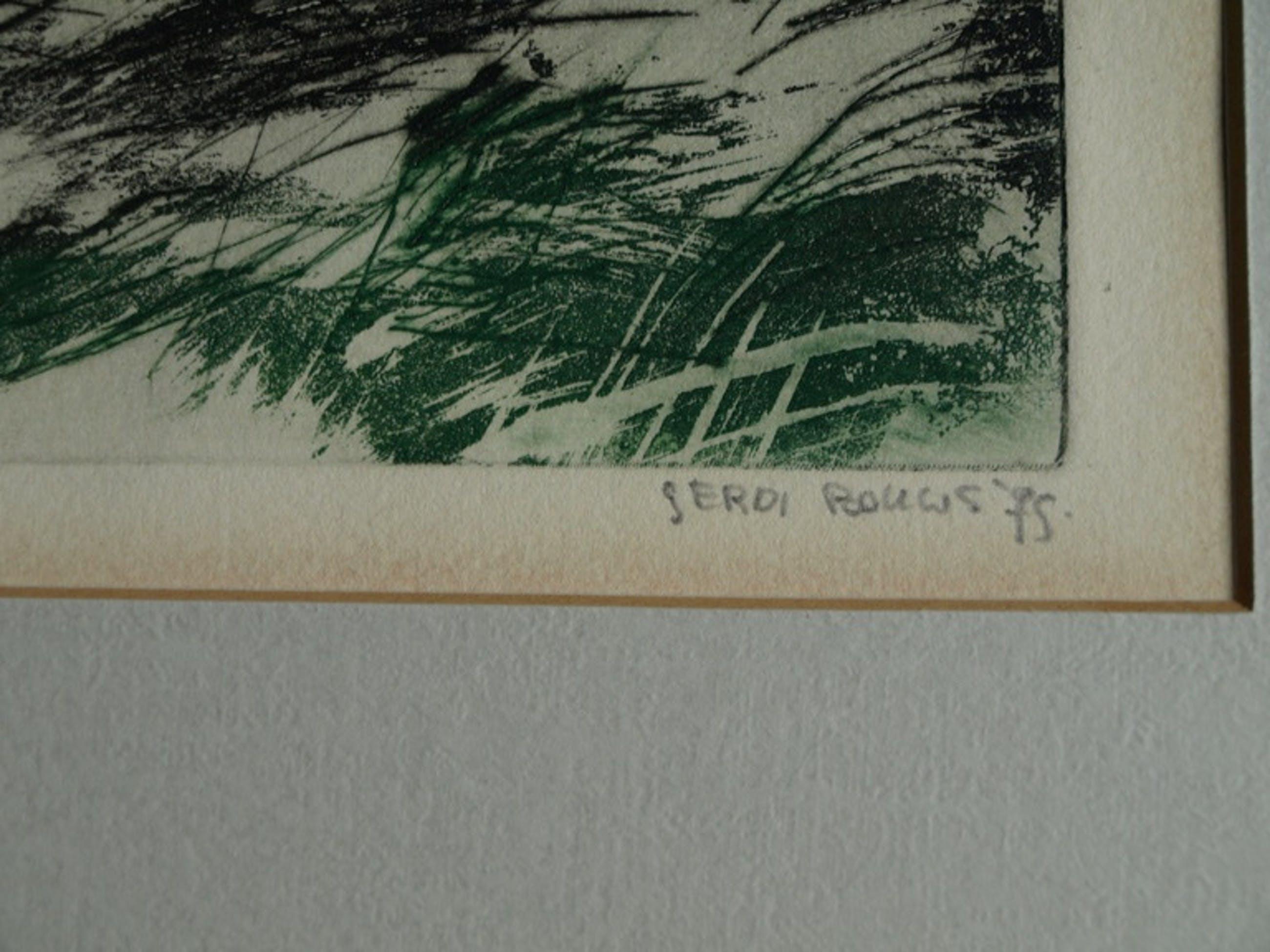 Gerdi Bouws (1951-) : Kleurenets, Abstract landschap – gesigneerd – 1975 kopen? Bied vanaf 50!