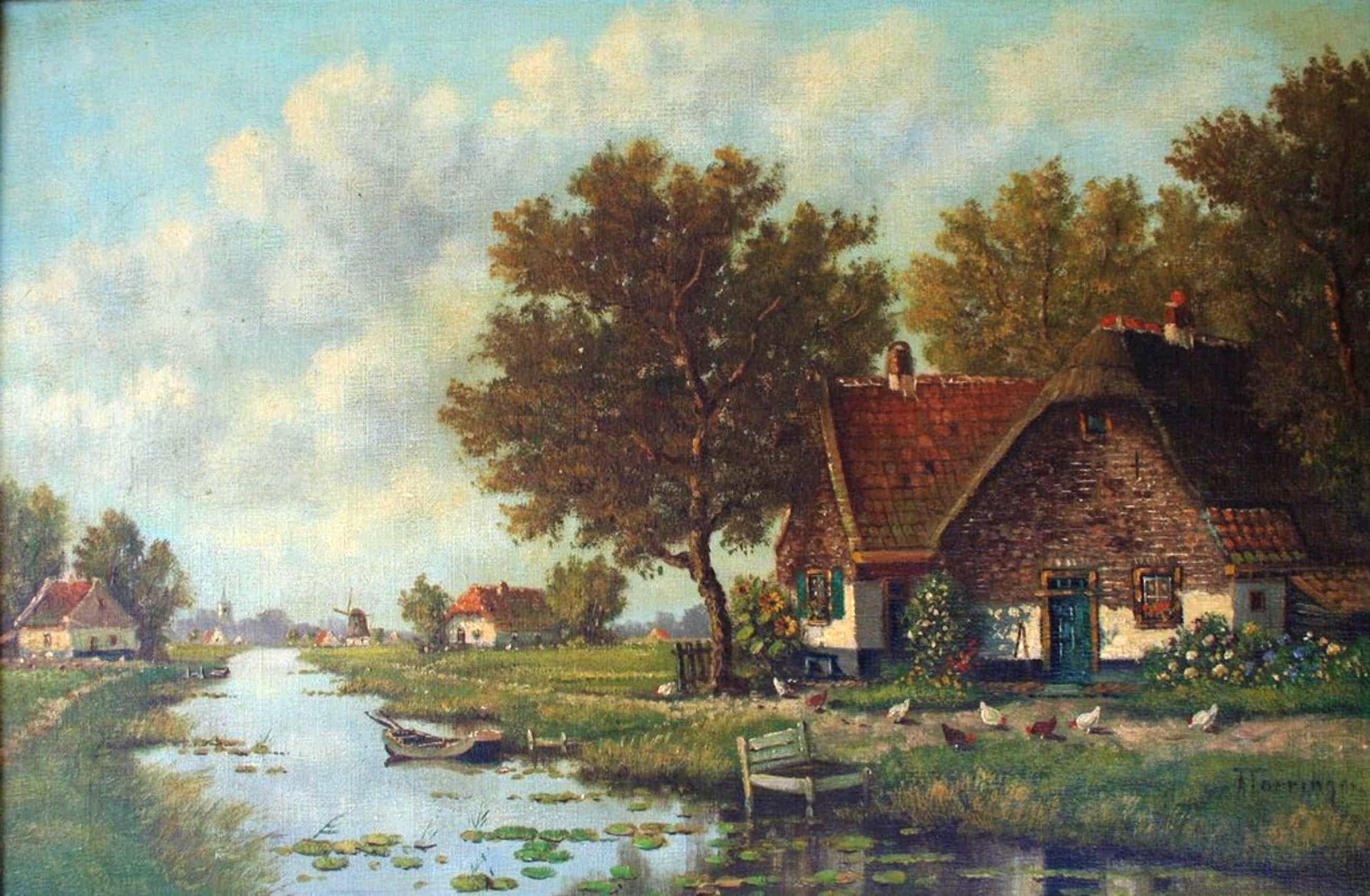 A. Torringa - olieverf op doek - poldertafereel met huizen langs het water kopen? Bied vanaf 110!