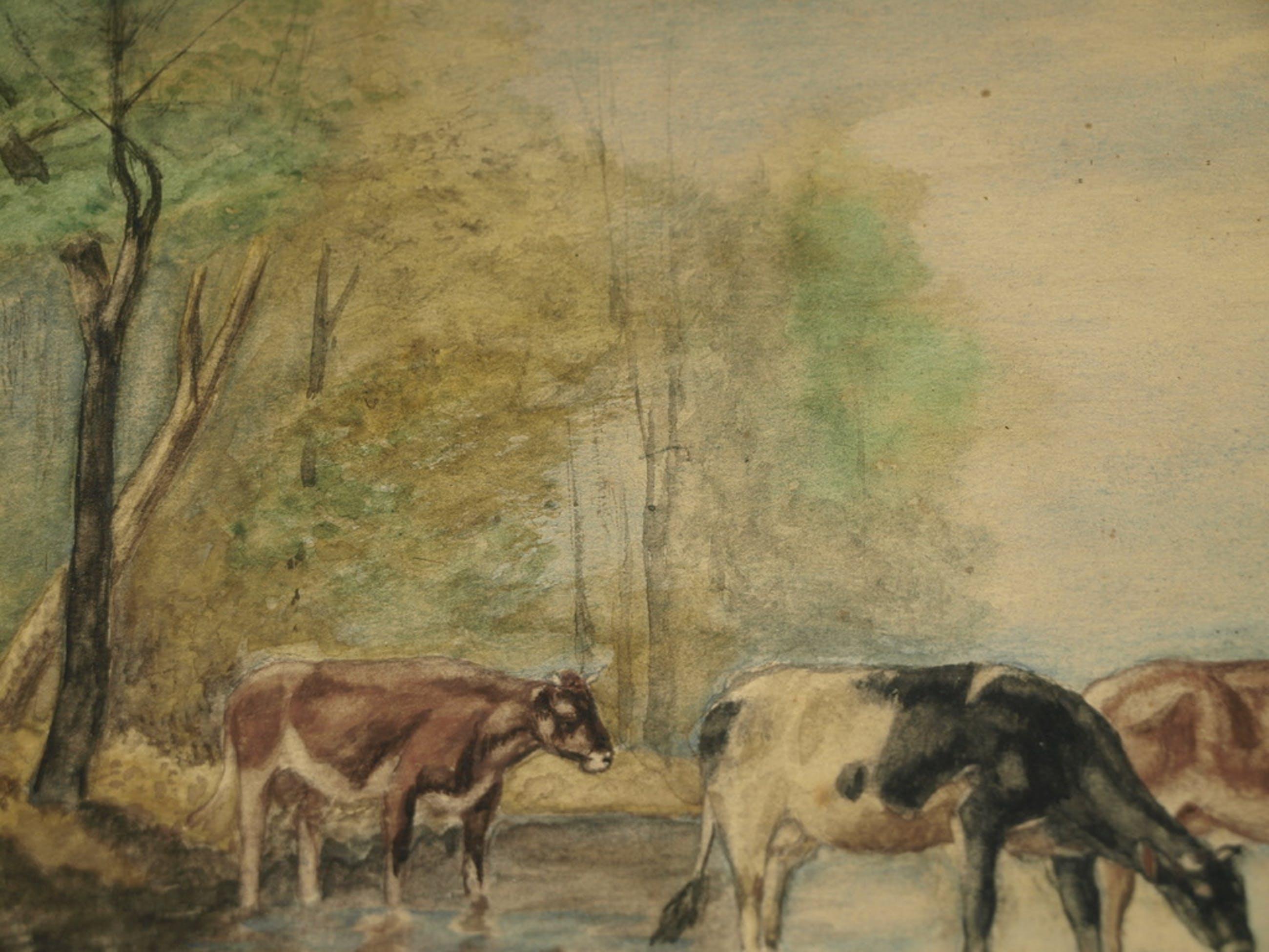 C. W. Theunisse – Aquarel – Koeien in het water – Gesigneerd & ingelijst-ca 1950 kopen? Bied vanaf 50!