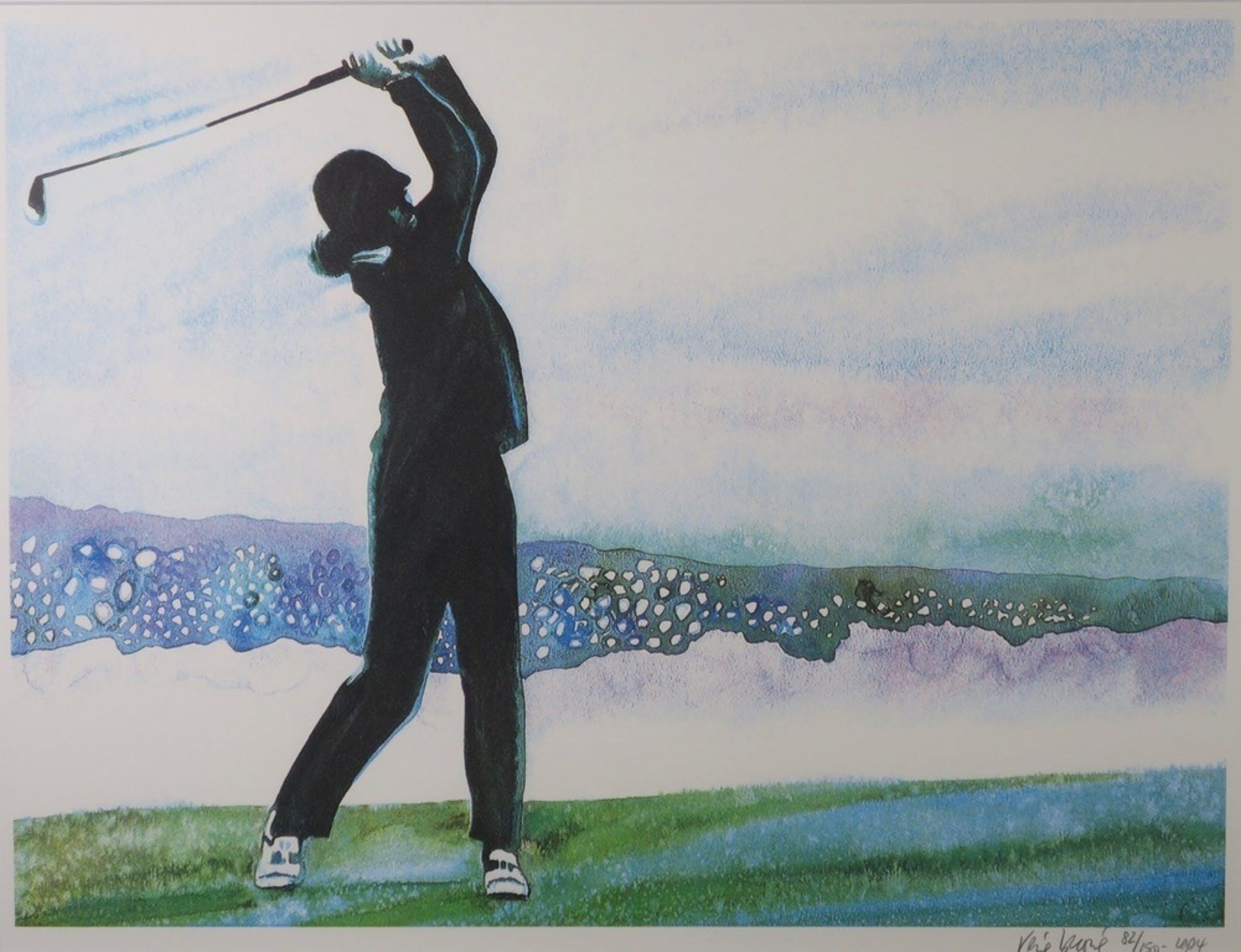 Rene Brone: Litho, Playing golf at peble beach - Ingelijst kopen? Bied vanaf 1!