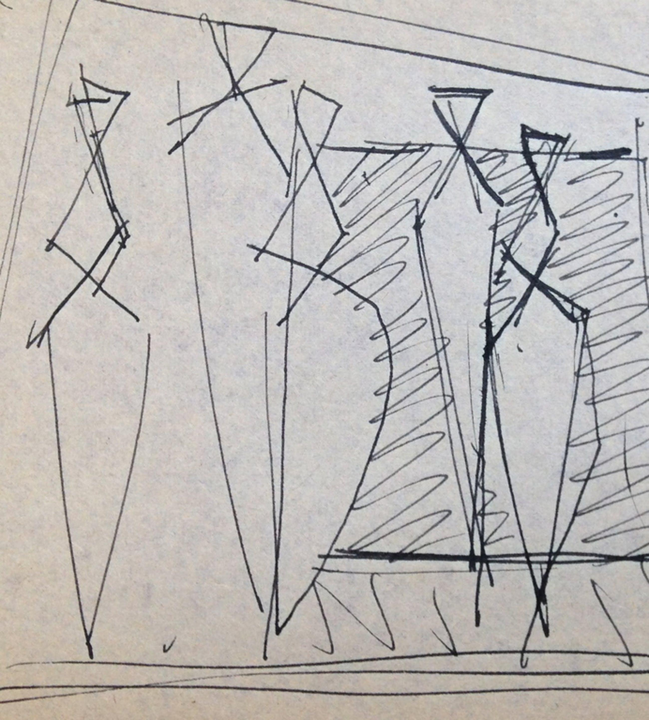 """Siep van den Berg, Originele Oost-Indische inkt tekening uit 1956, """"4 figuren"""" kopen? Bied vanaf 1!"""