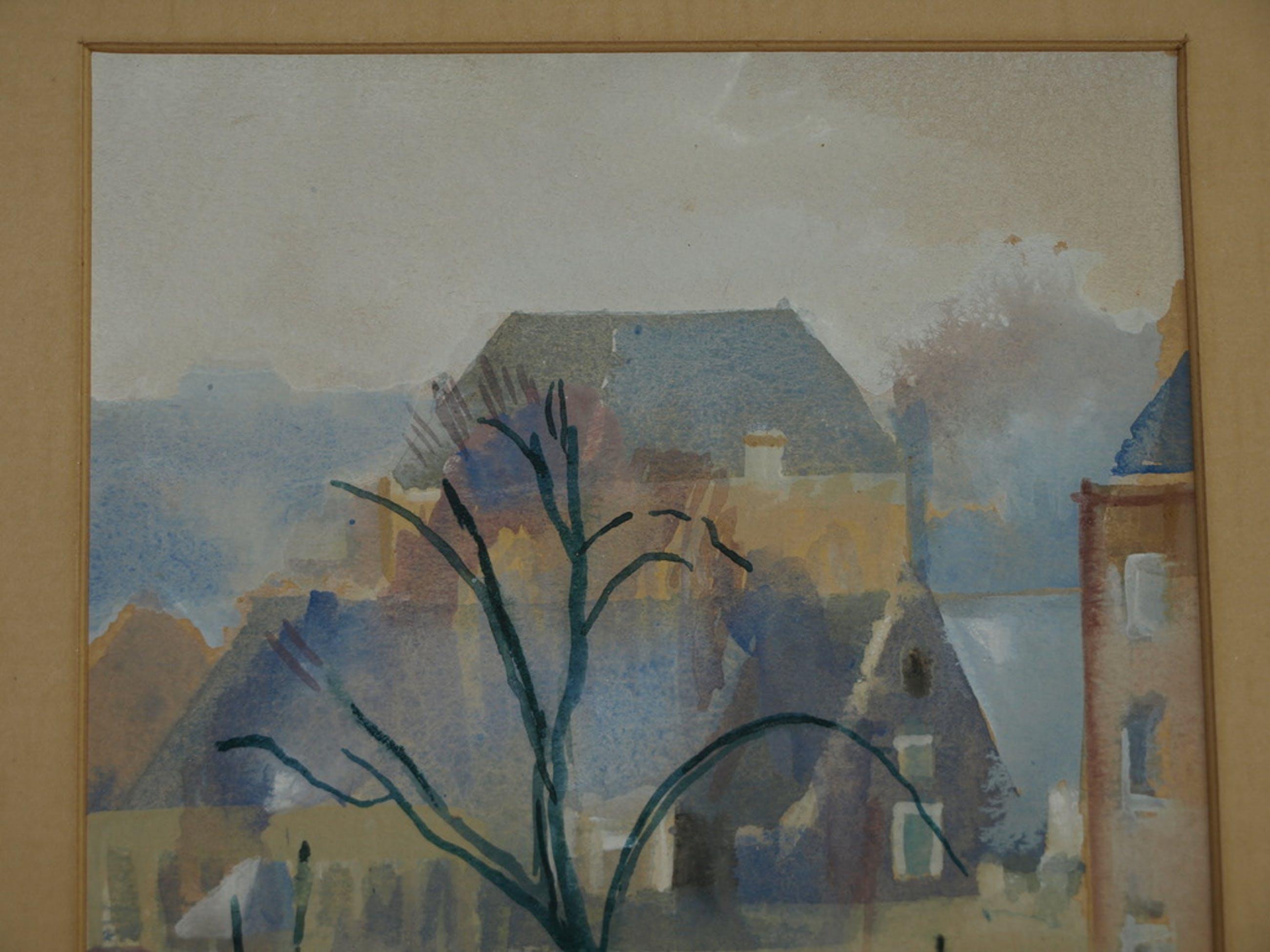 CLAUDINE DOORMAN (1907-2004) – Aquarel – Markt – Gesigneerd & ingelijst kopen? Bied vanaf 1!