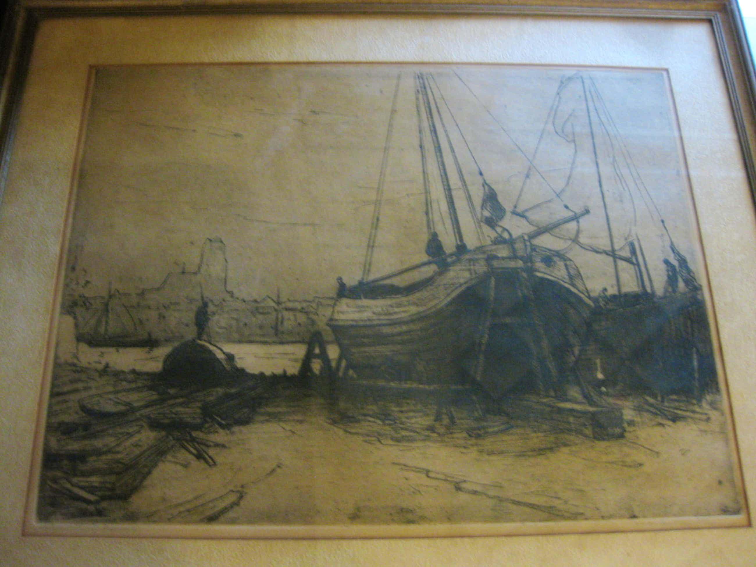 Grote ets Martin van Waning (1887-1972) - Ets Scheepshelling bij Dordrecht kopen? Bied vanaf 60!