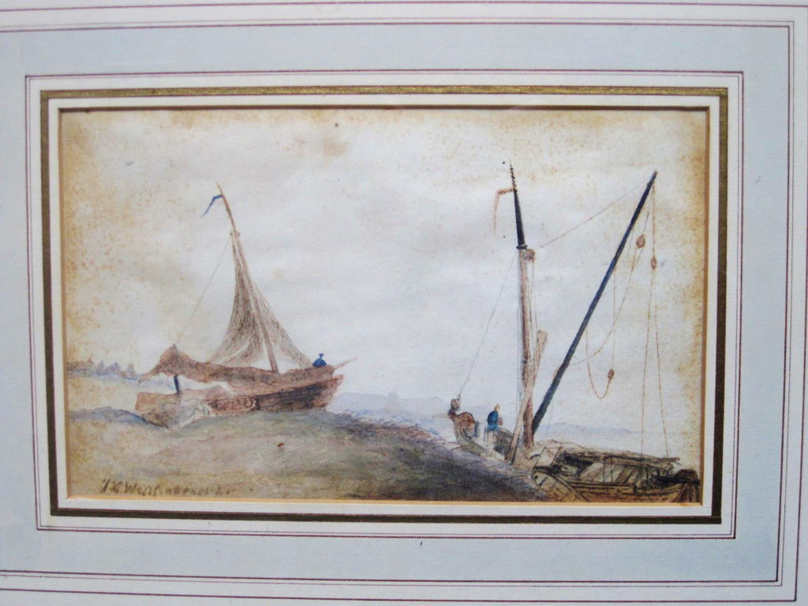"""J.H.Weissenbruch 1824-1903 aquarel """"bomschuiten aan strand"""" Haagse School ! kopen? Bied vanaf 150!"""