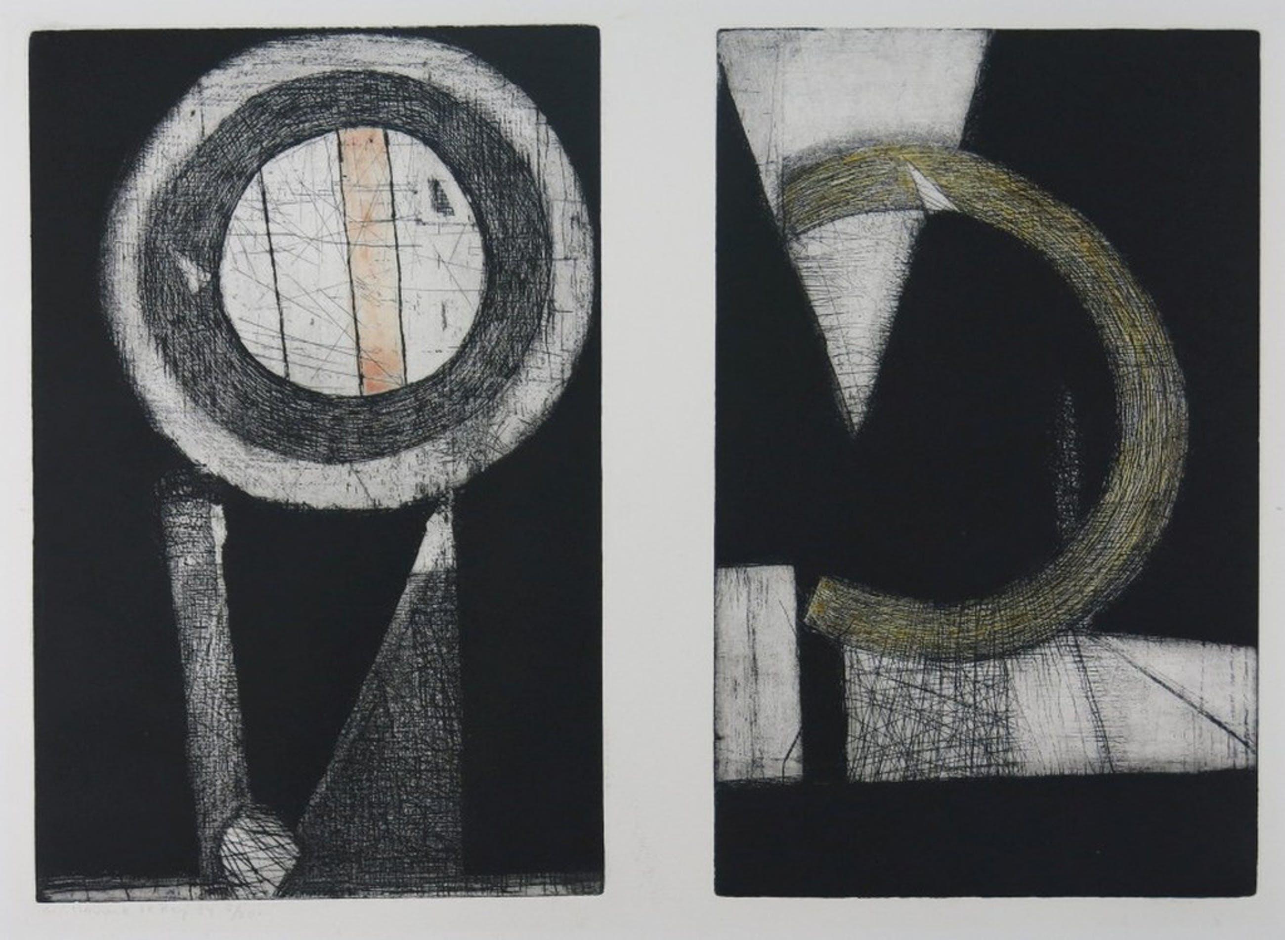 Guillaume Le Roy: Kleuren Ets, abstracte compositie  kopen? Bied vanaf 60!