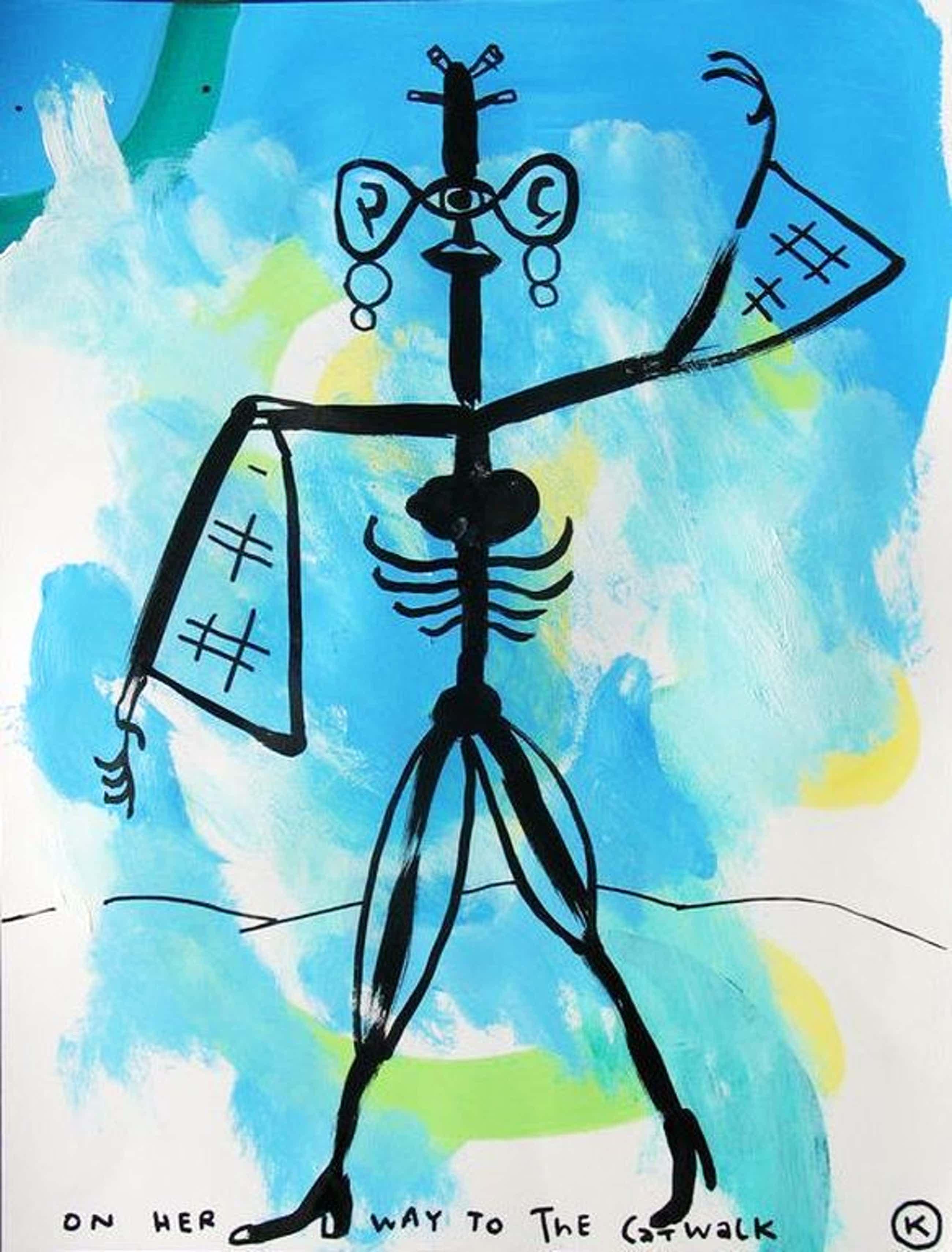 KAMAGURKA groot schilderij op papier, On her way to the catwalk, 65 x 50 cm kopen? Bied vanaf 350!