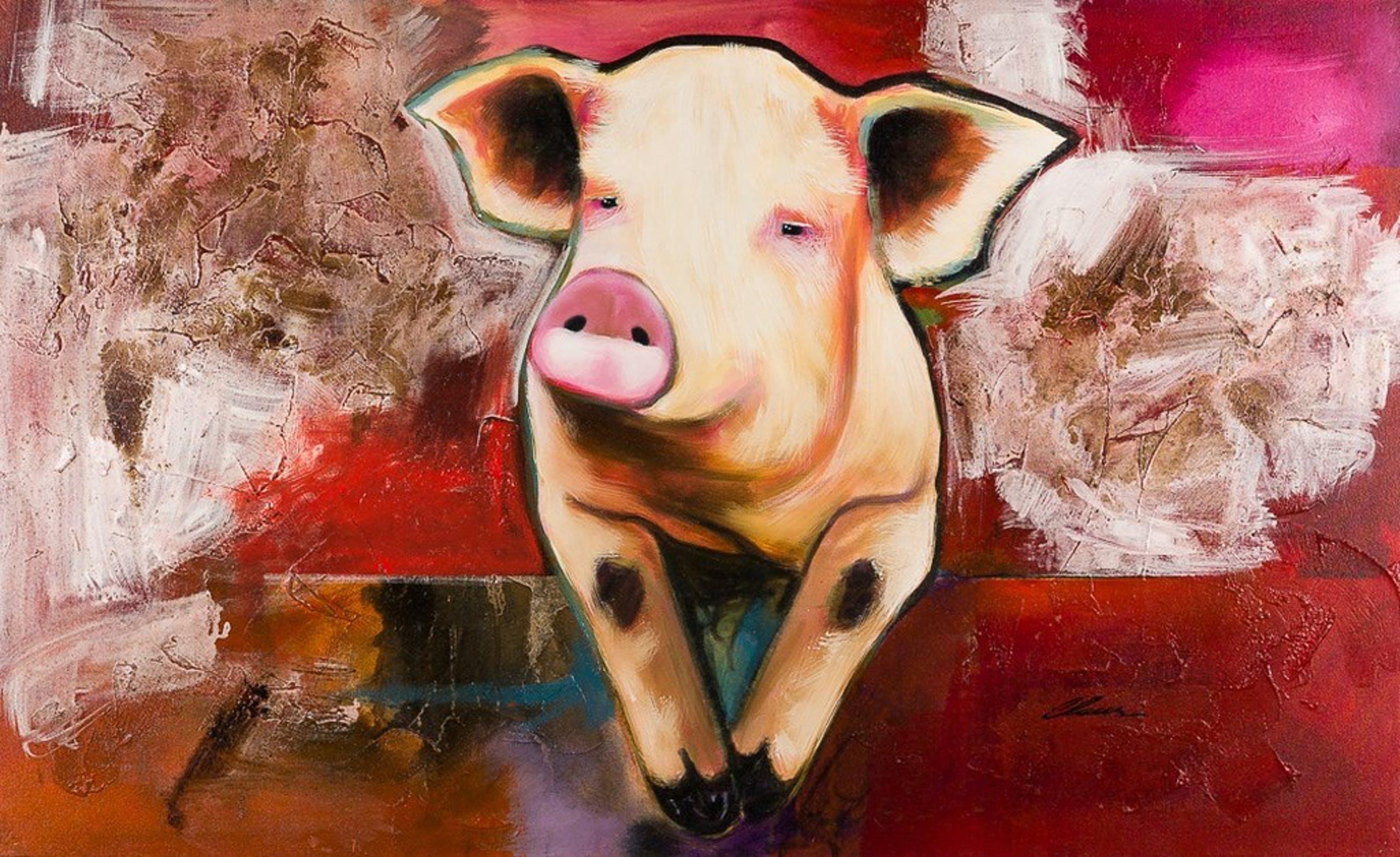 """CLAUS COSTA - Gemengde Techniek op Canvas - HAPPY PIGGY"""" - 2010 kopen? Bied vanaf 299!"""