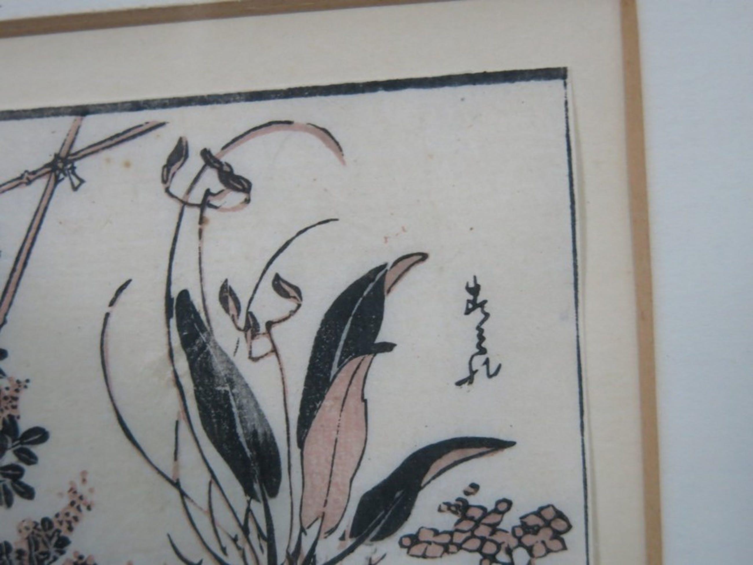 Onbekende kunstenaar: Houtsnede op Japans papier, Studie van planten - Ingelijst kopen? Bied vanaf 10!