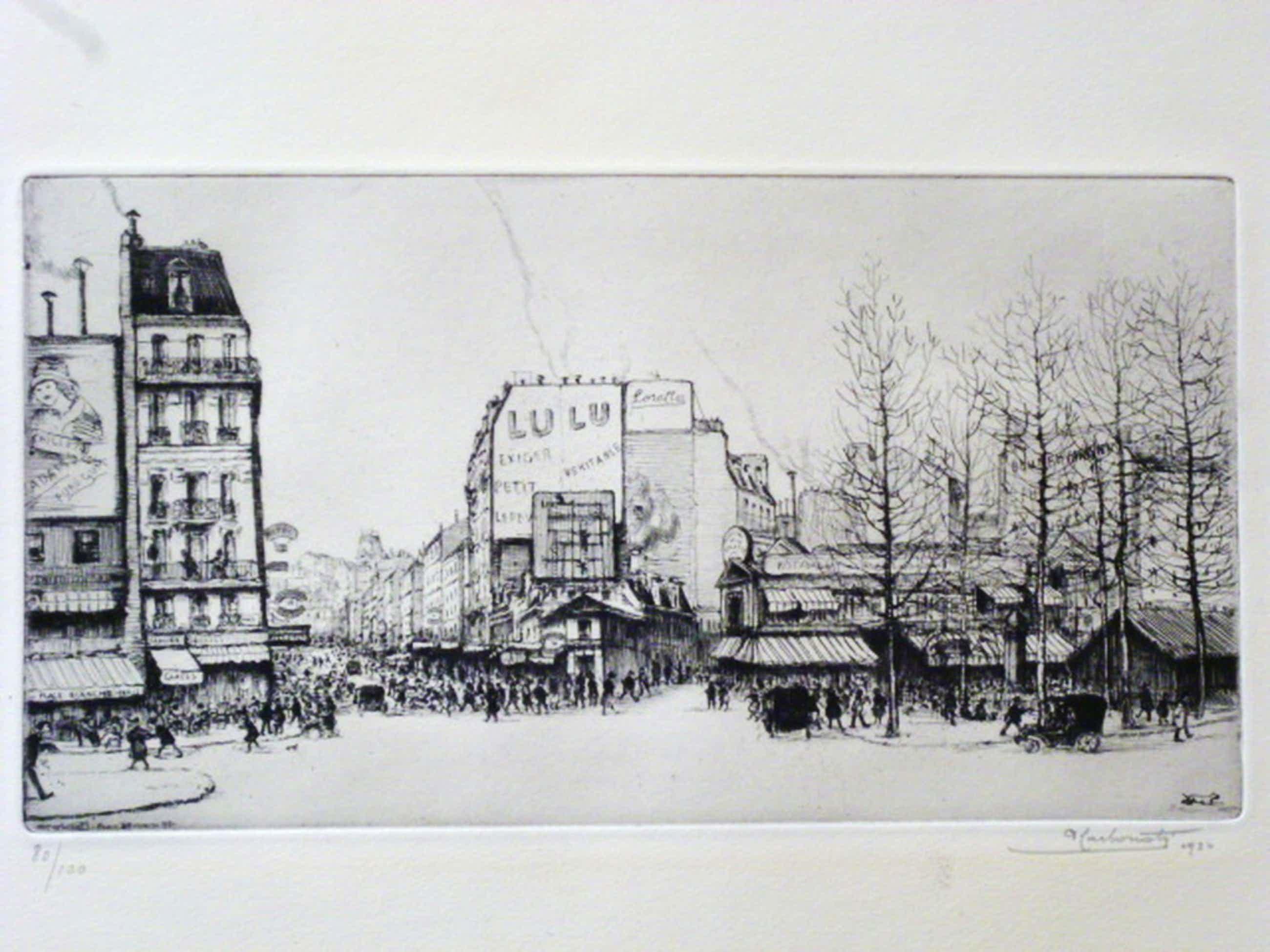 Antonio Carbonati - ets - Stadsgezicht Parijs. kopen? Bied vanaf 85!