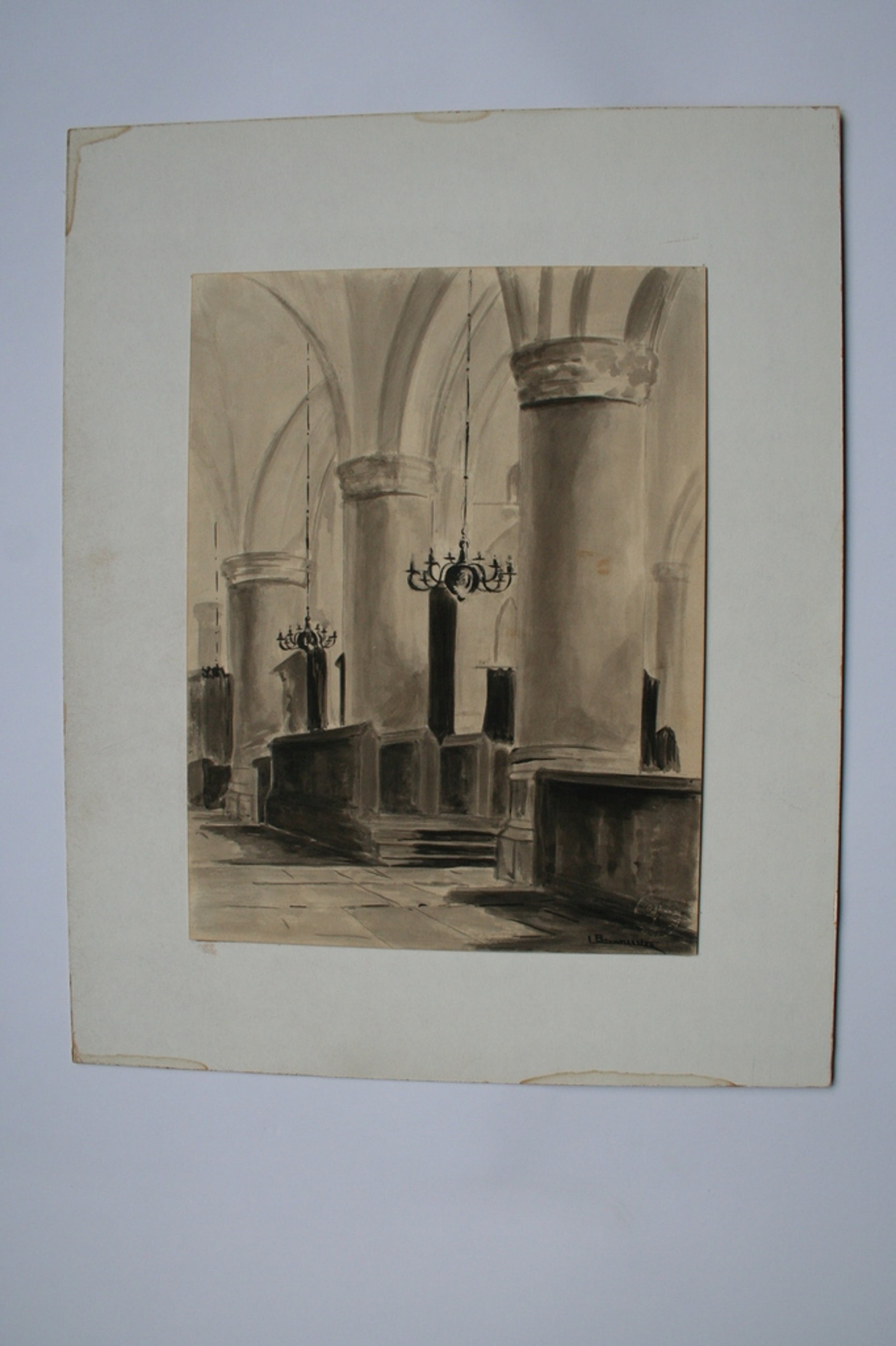 Bouwmeester, aquarel, kerkinterieur, gesigneerd kopen? Bied vanaf 1!