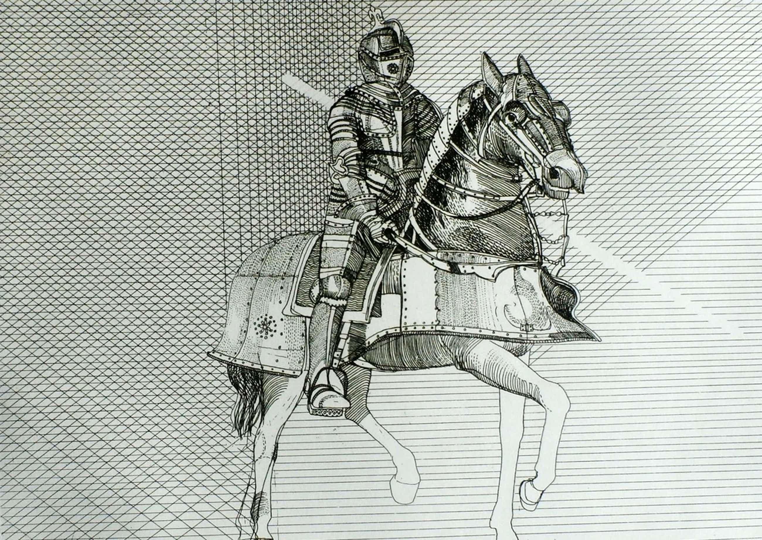Aat verhoog - ets: ridder op paard - 1971 kopen? Bied vanaf 50!
