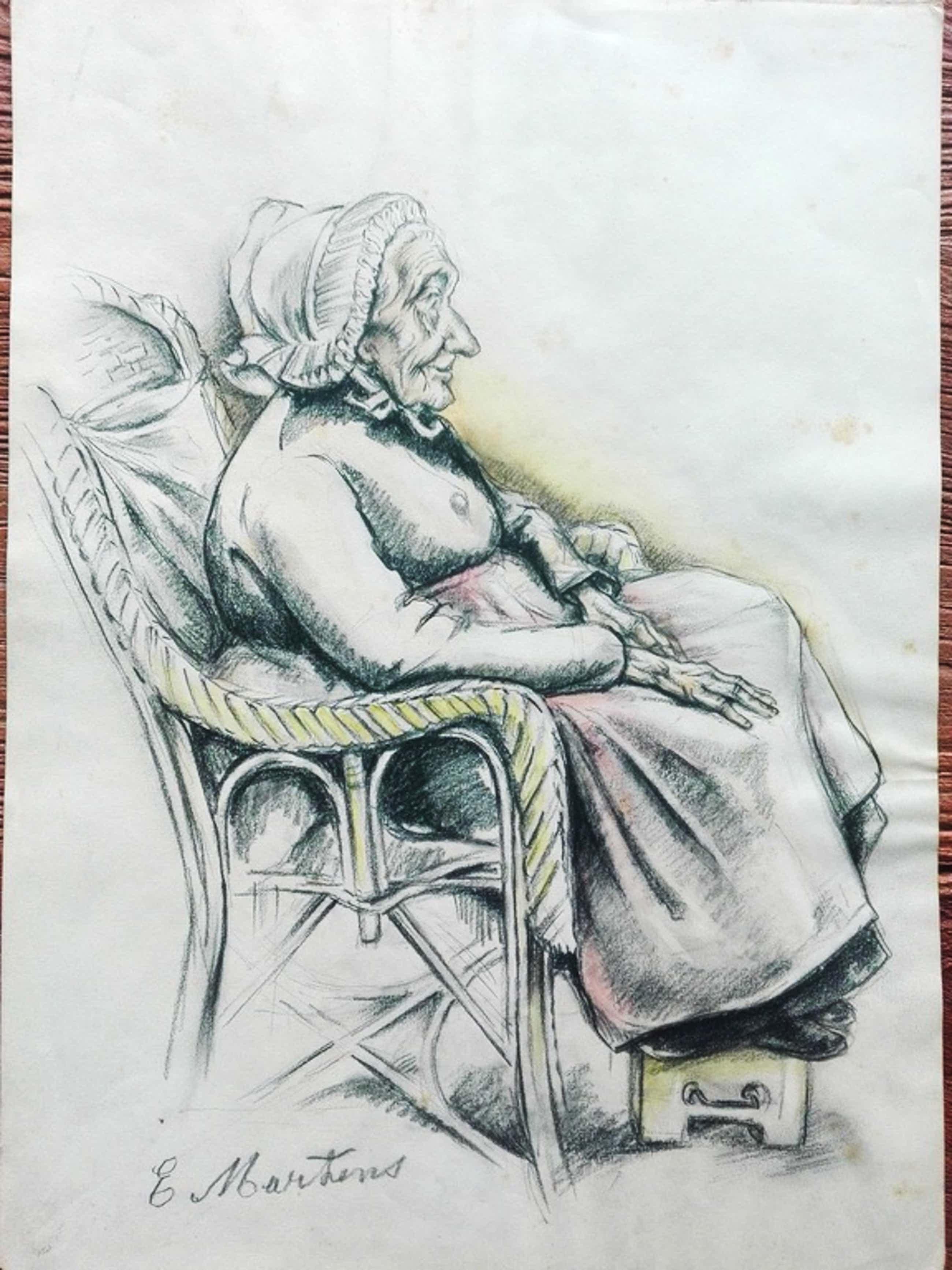 Gijsbert George Martens, Groninger Ploeg potloodtekening, oude zittende vrouw kopen? Bied vanaf 43!