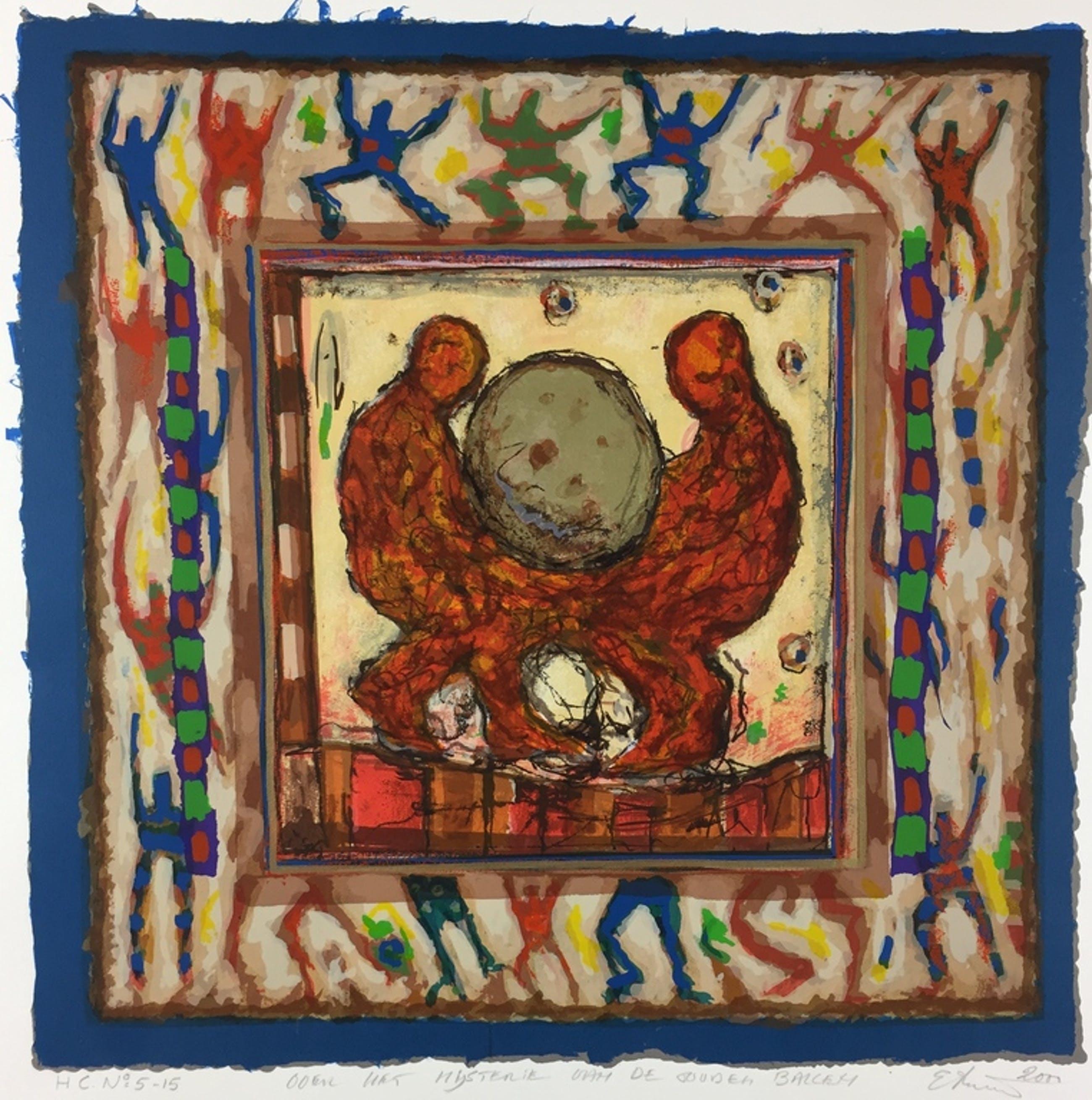 Eric Toebosch, zeefdruk, 2000, 'Over het mysterie van de gouden ballen' kopen? Bied vanaf 69!