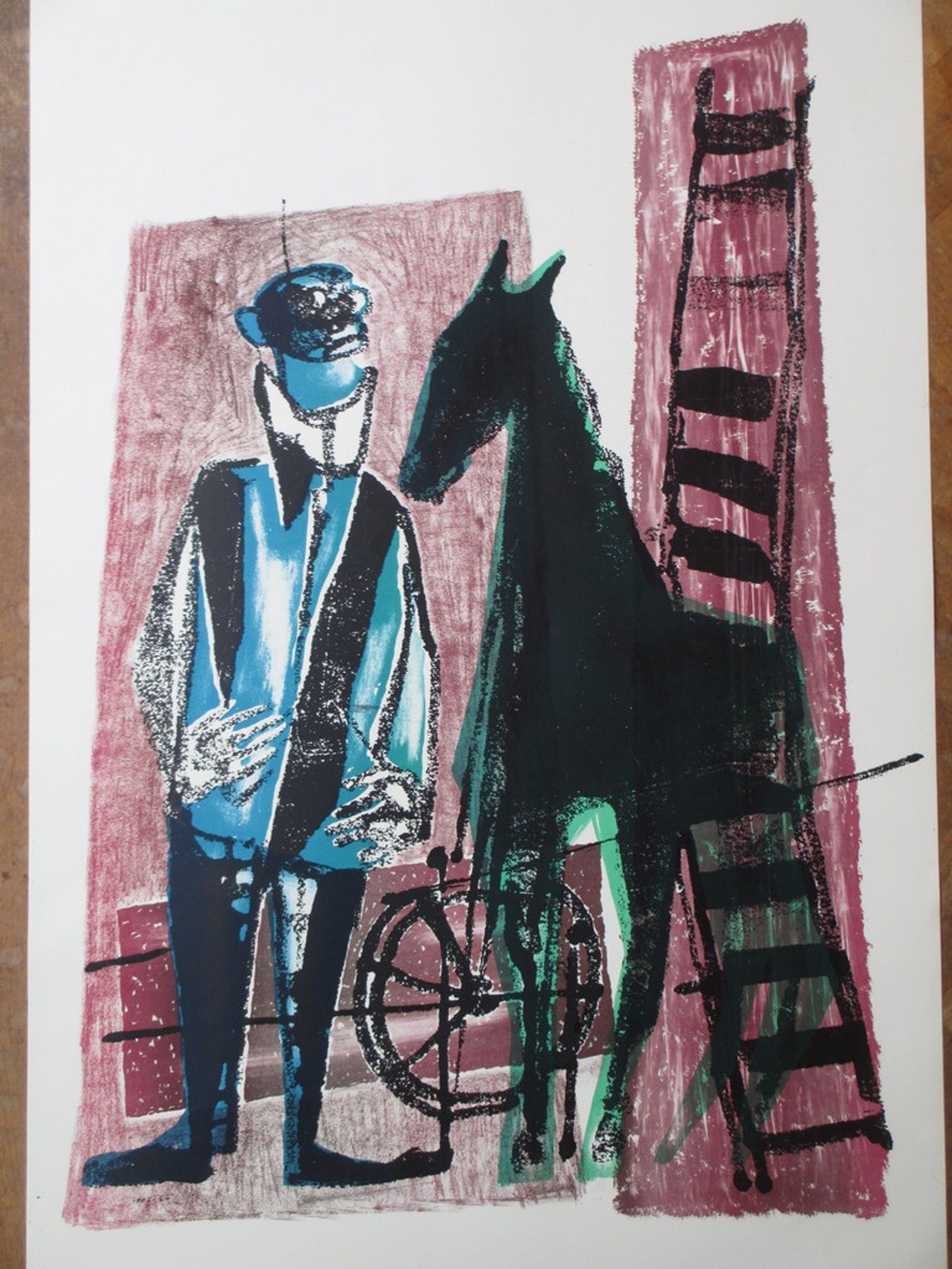 Dick Elffers, Man en paard, Kleurenlitho kopen? Bied vanaf 35!