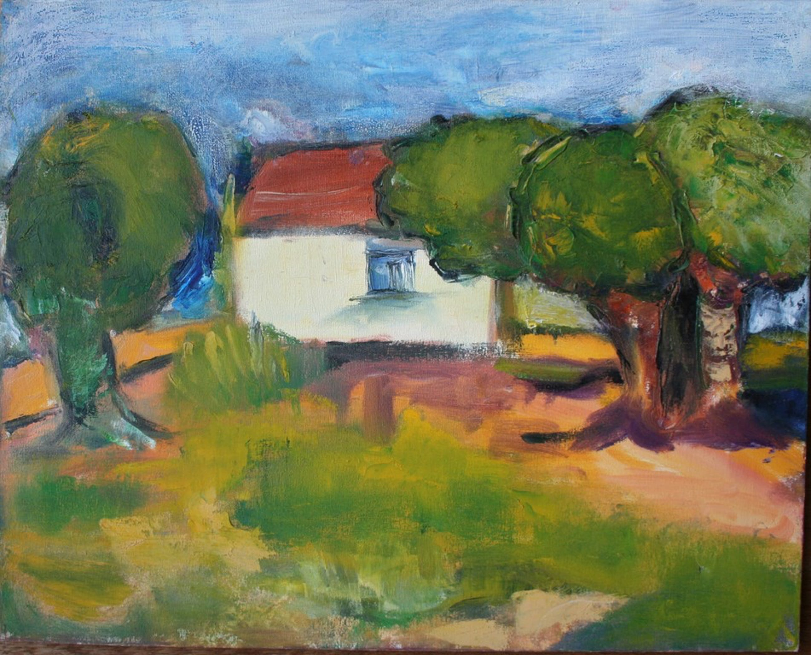 Ans Schillemans, acrylverf op doek, landschap met huisje kopen? Bied vanaf 1!