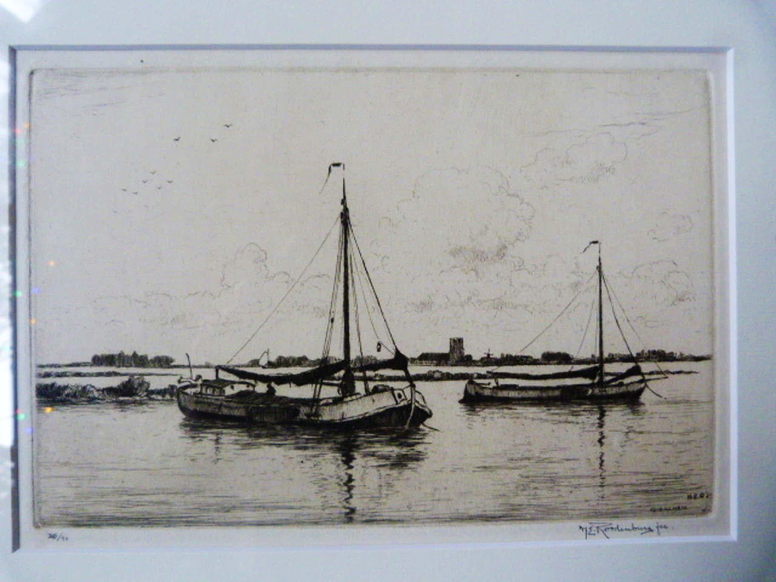 H.E. Roodenburg ( 1895 - 1987 ) - Schuitjes op de Merwede te Gorinchem kopen? Bied vanaf 55!
