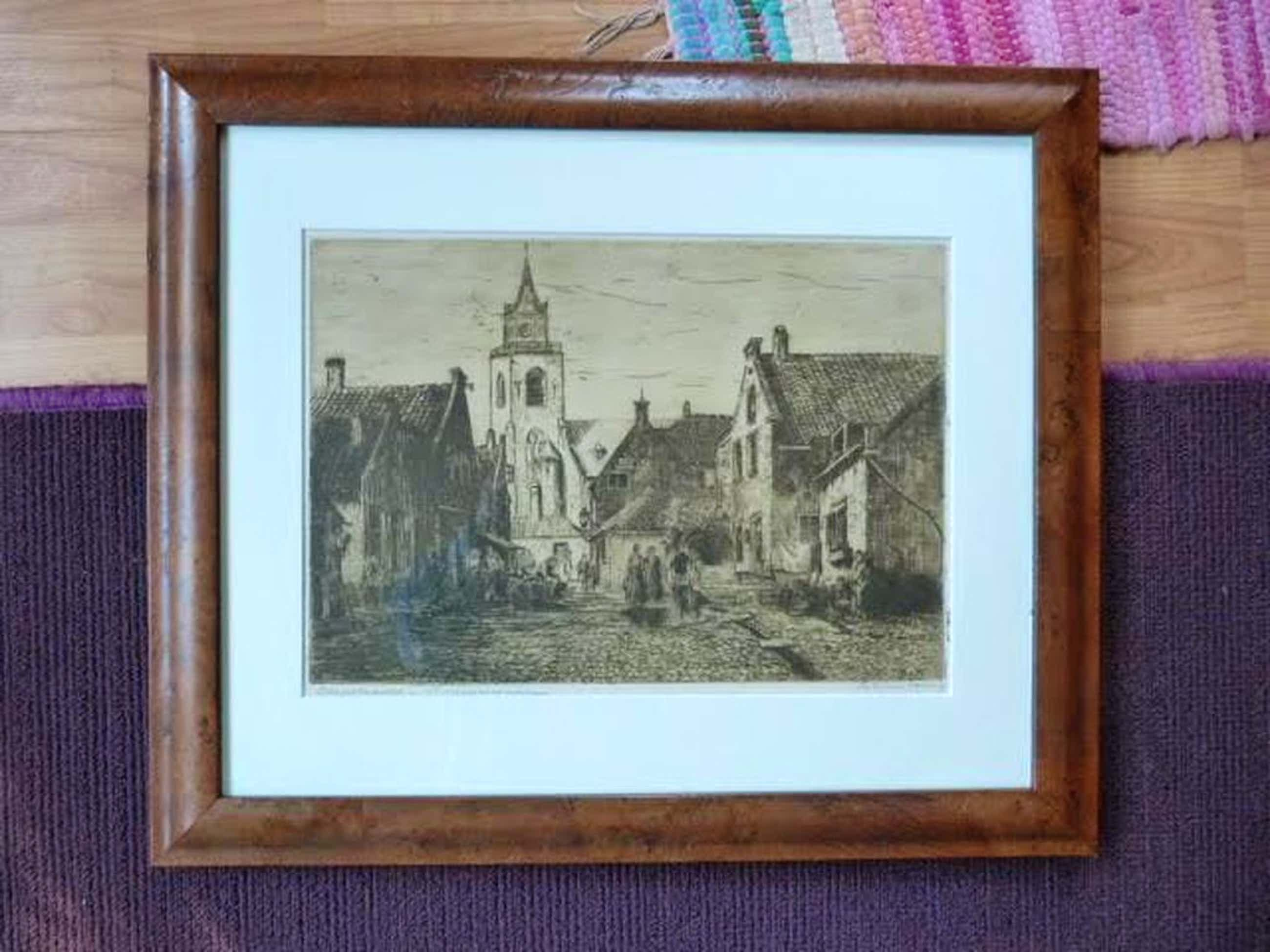 Scheveningen - M. van Waning (1889 - 1972) - Dorpsstraatje kopen? Bied vanaf 40!