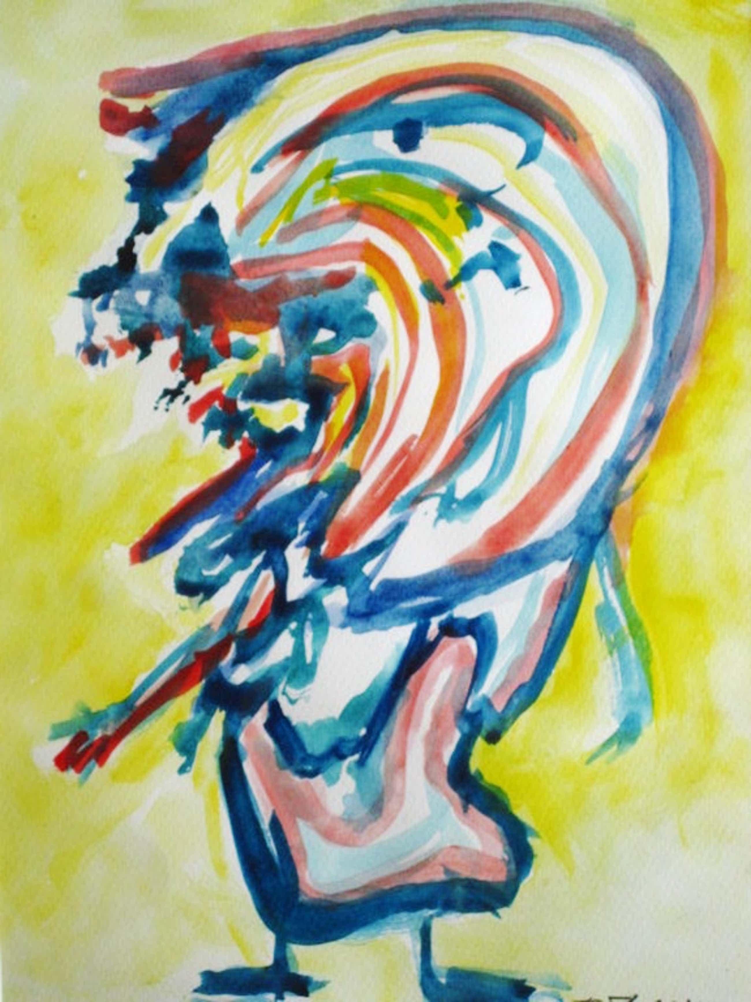 """Deense Neo-Cobra kunstenaar Finn Pedersen (1944-) aquarel """"figuur"""" gesigneerd  kopen? Bied vanaf 220!"""