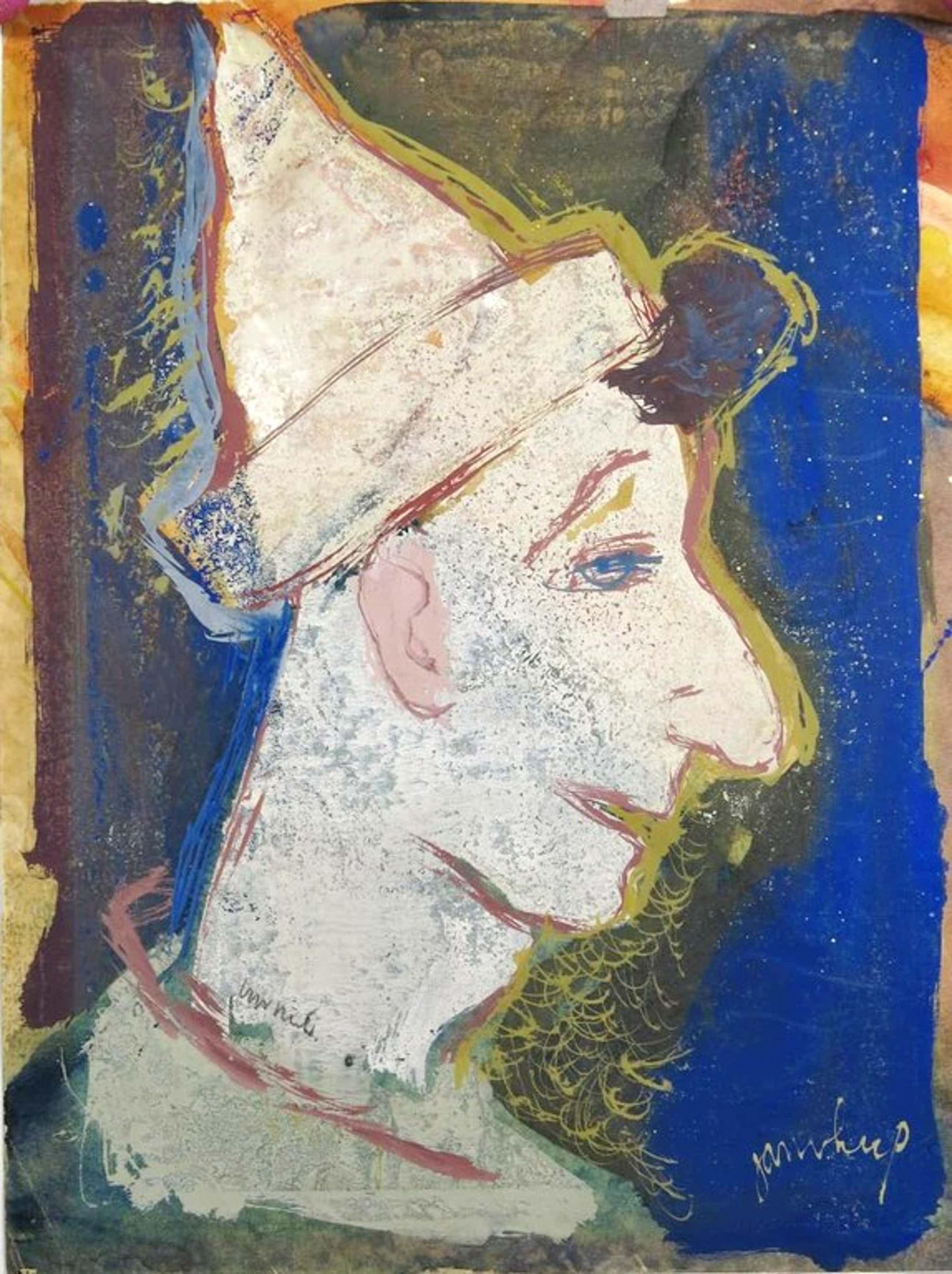 Jan van Heel: Gouache op papier, Kop van een Pierrot kopen? Bied vanaf 350!