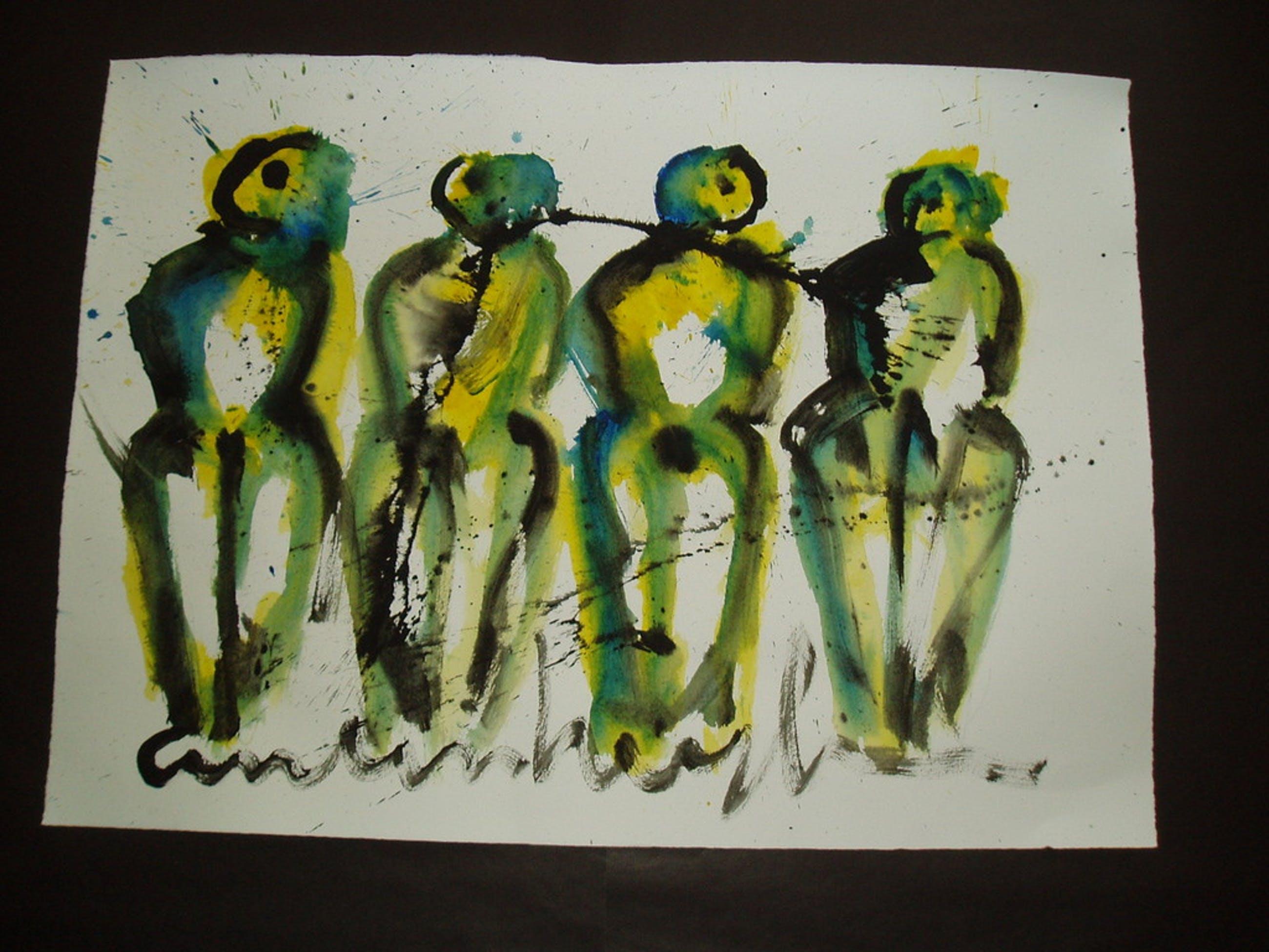 Anton Heyboer , 1924/2005 Aquarel ... De vier bruiden... kopen? Bied vanaf 150!