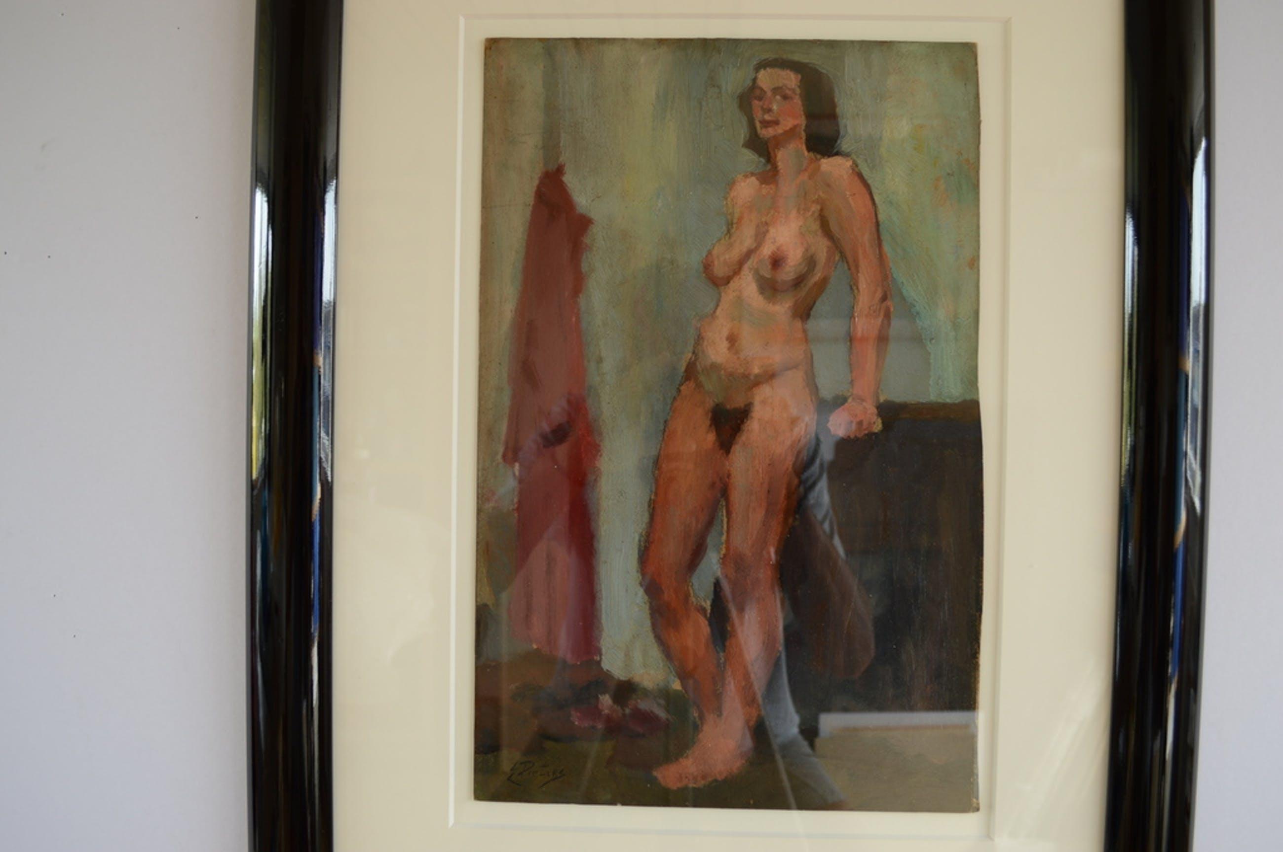 Evert Pieters (1856-1932) staand naakt,olie/board 27 x 41 ca.1920 signatuur l.o kopen? Bied vanaf 350!