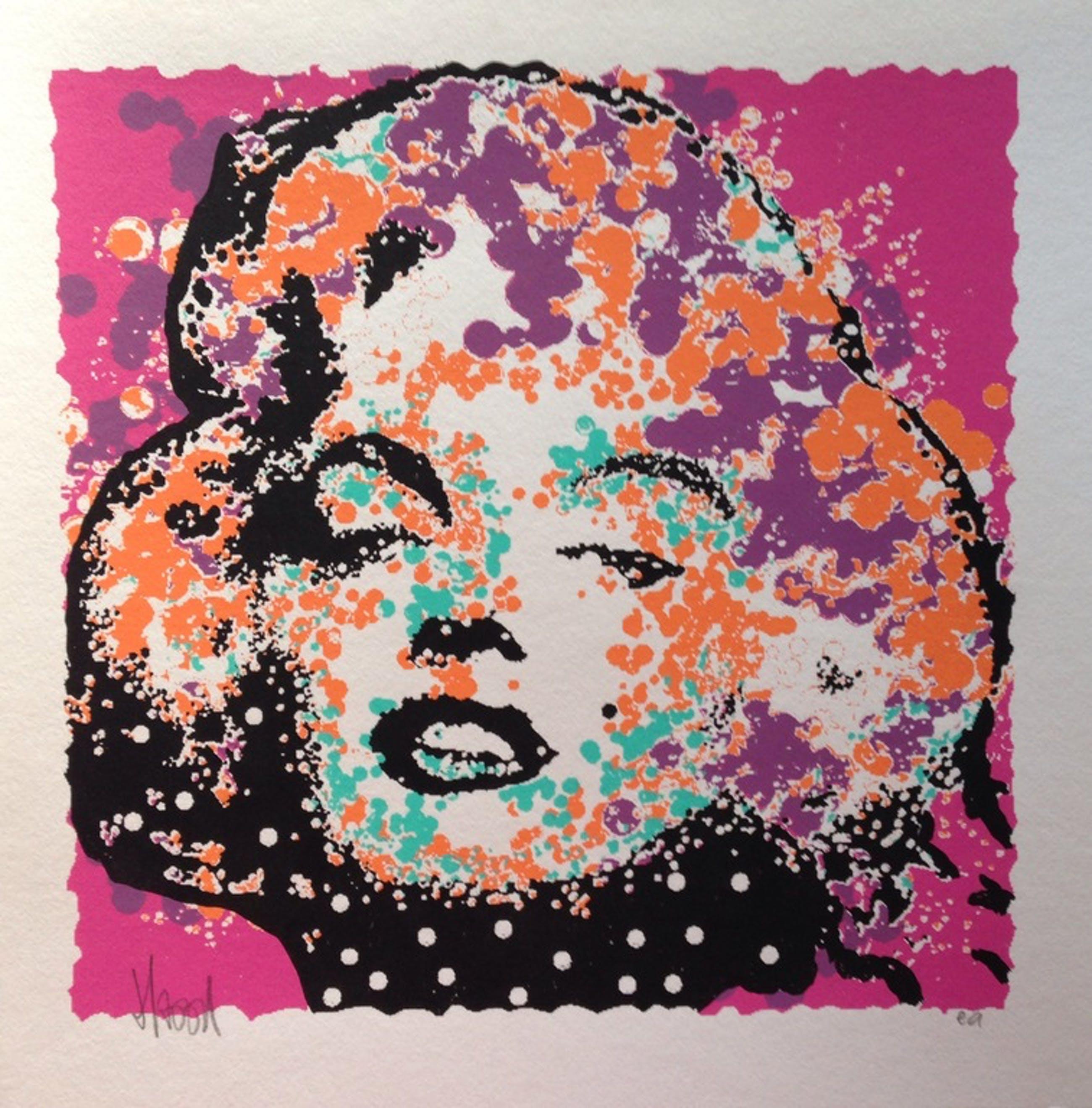 AD VAN HASSEL - handgesigneerde zeefdruk: Marilyn Monroe Paars kopen? Bied vanaf 1!