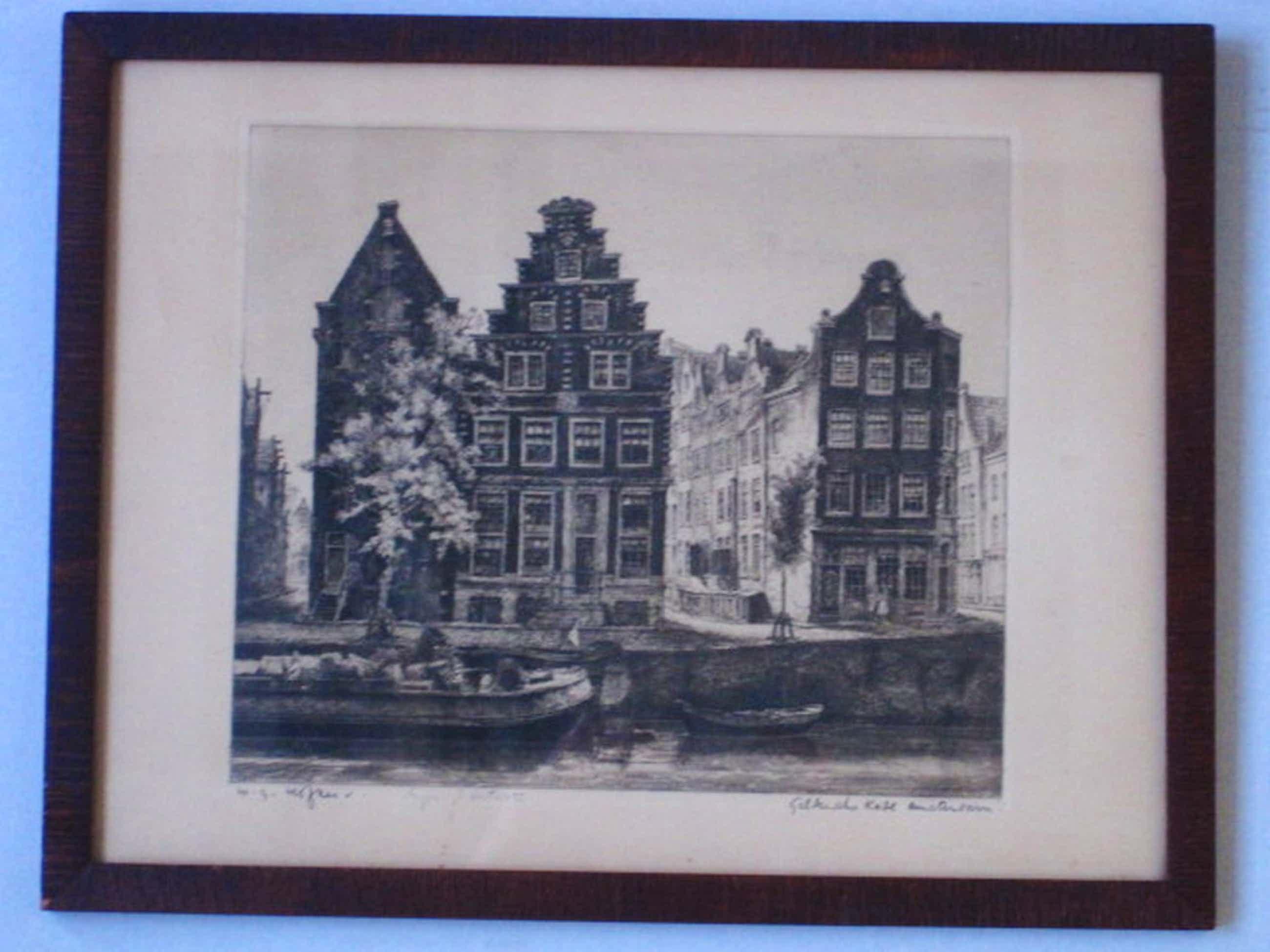 Bijzonder!! Amsterdam- Geldersekade orig. Ets W.G. Hofker 1902-1981 gesigneerd   kopen? Bied vanaf 130!