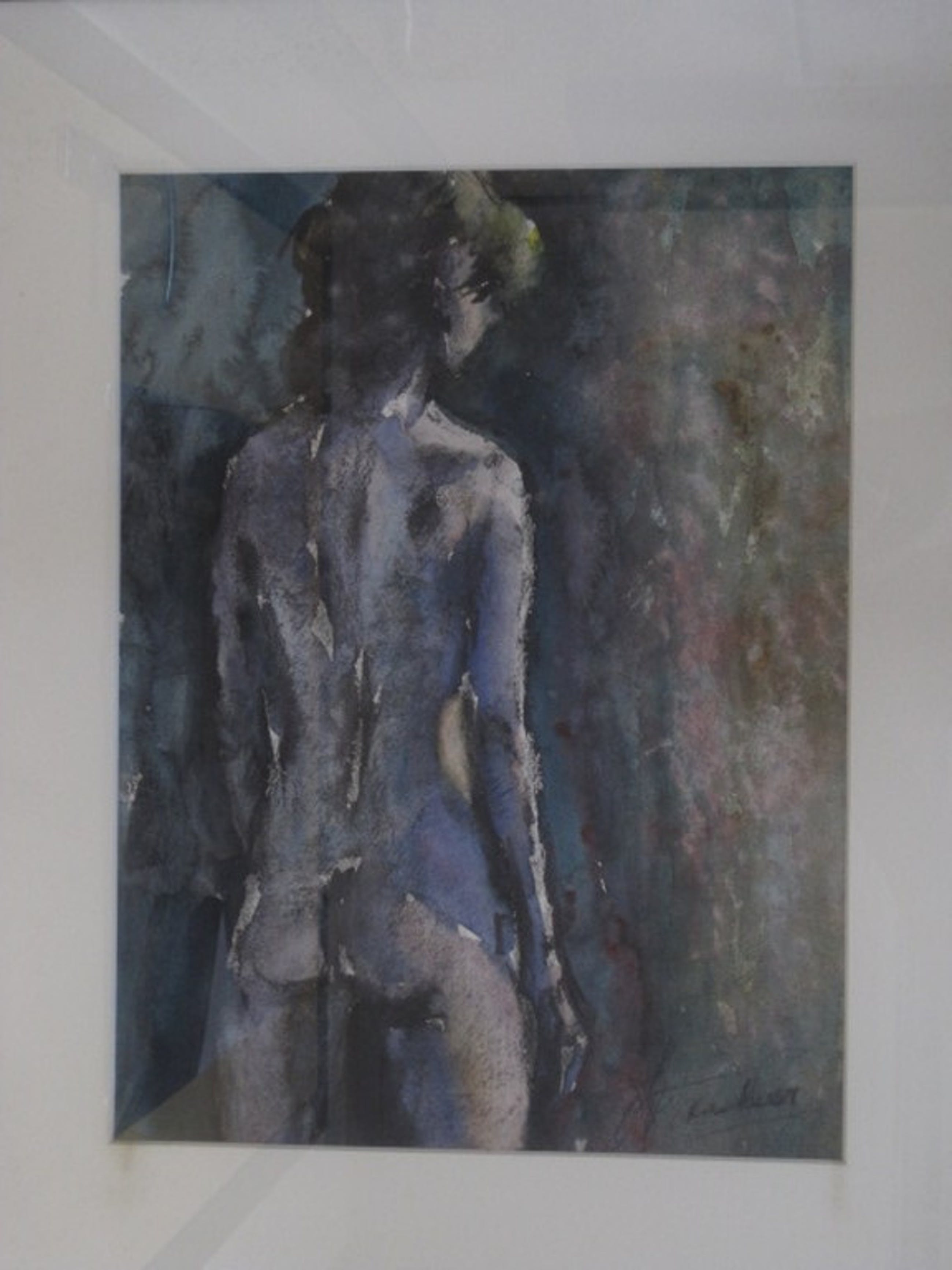"""Aquarel """"staand naakt"""" van Haarlemse impressionist Jan van der Veer 1912-2001 kopen? Bied vanaf 1!"""