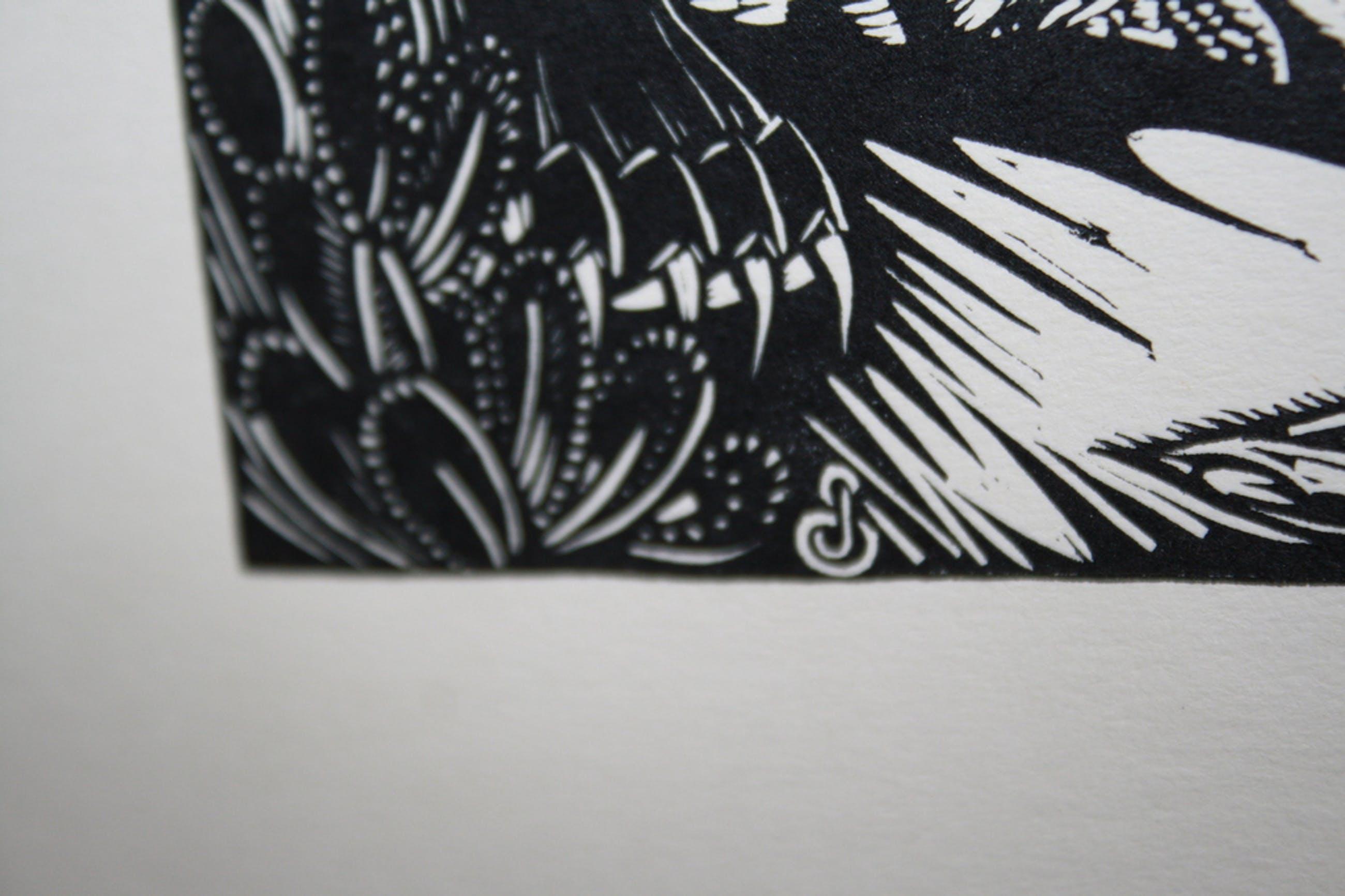 JAN SCHONK - ART DECO HOUTSNEDE 1926 -  LEEUW EN TIJGER kopen? Bied vanaf 40!