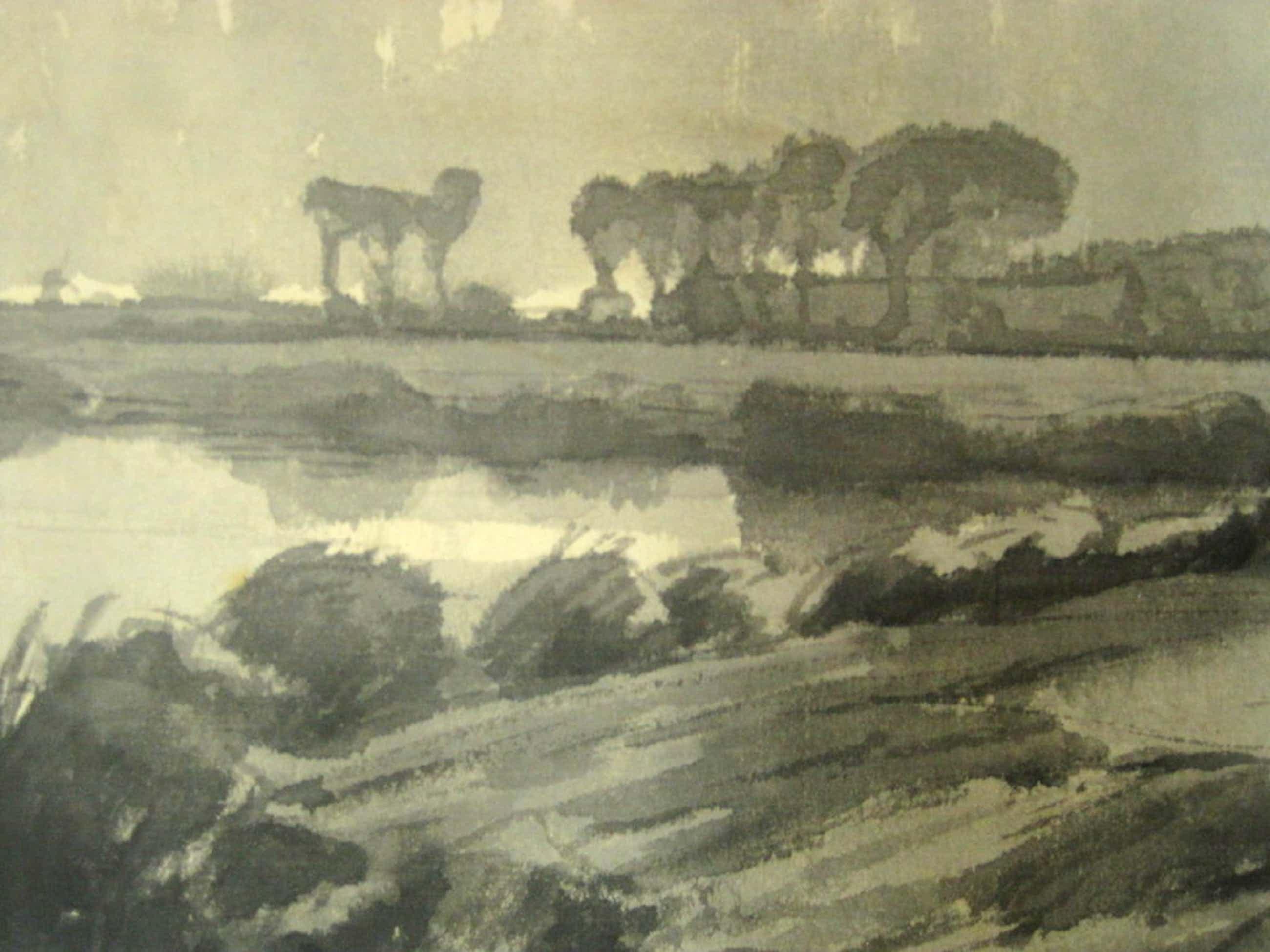 """Maurits v/d Valk sepiatekening """"Hollands rivierlandschap"""" omstreeks 1900  kopen? Bied vanaf 50!"""