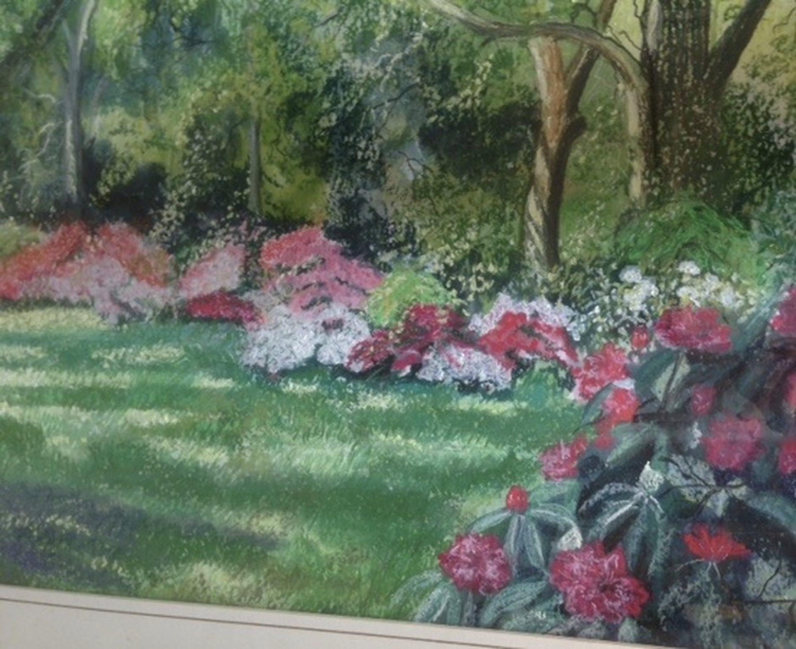 Pasteltekening 64 X 54 cm - Engelse tuin-Kunsthandel The Fame Cheltenham kopen? Bied vanaf 1!